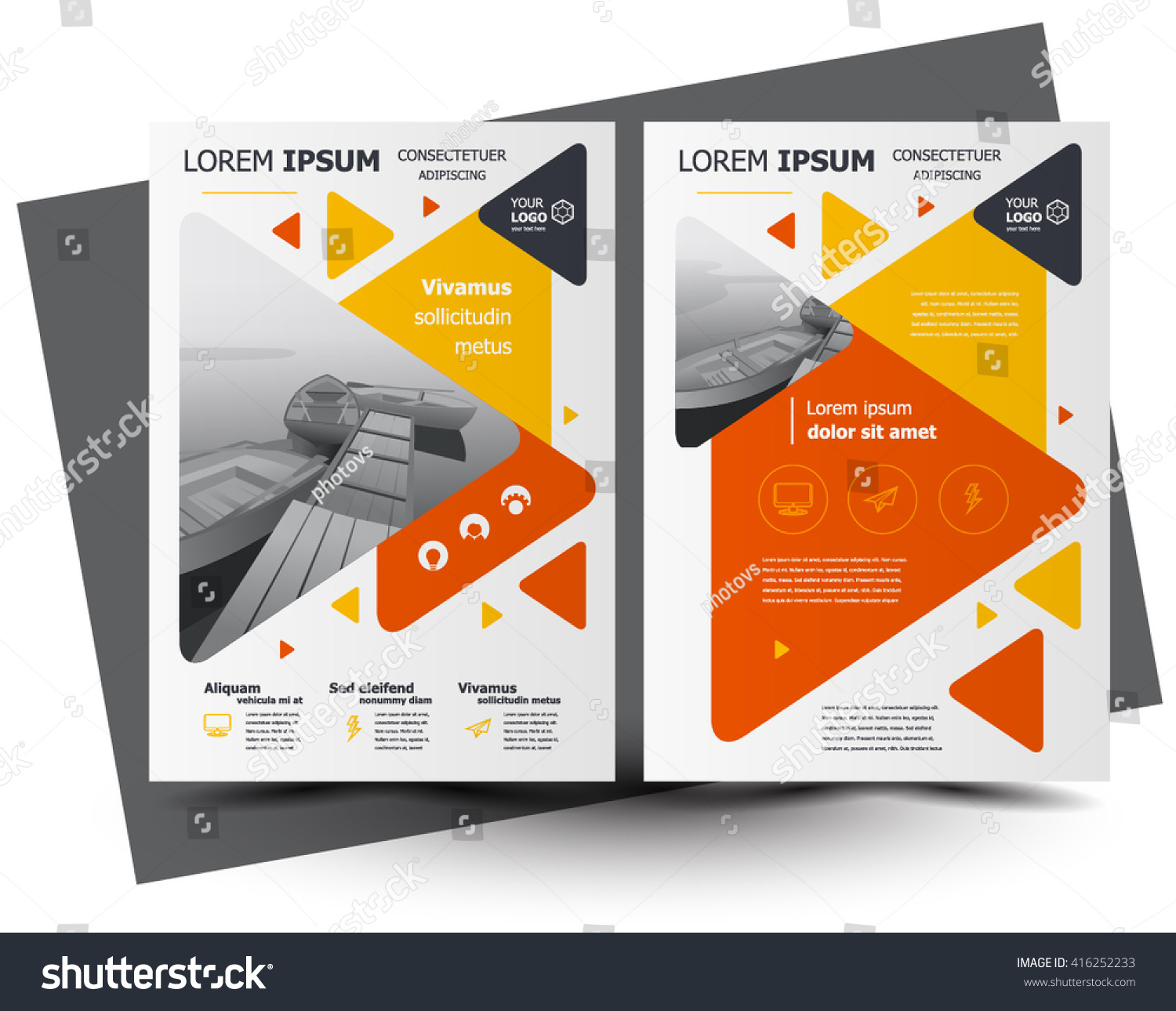 flyer brochure design business flyer size stock vector  flyer brochure design business flyer size a4 template creative leaflet trend cover triangles