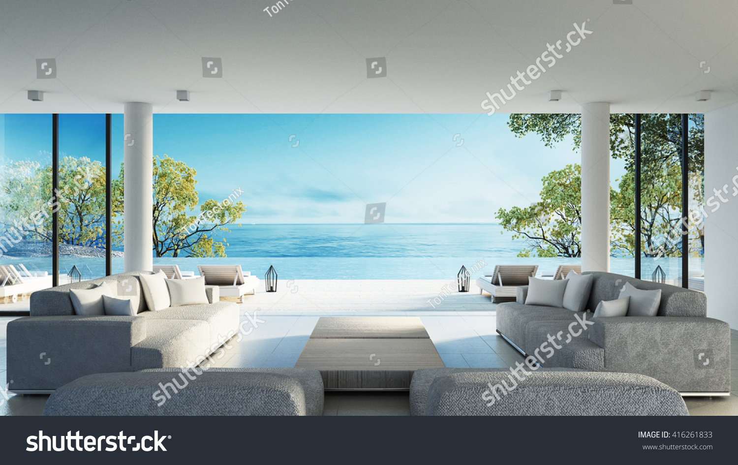 Awesome Beach Living On Sea View / 3d Rendering