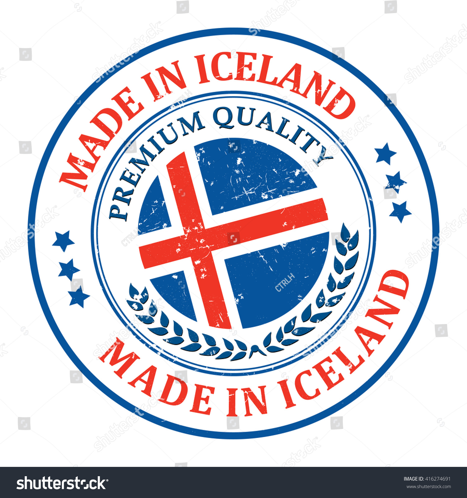 made in iceland grunge printable stamp label and sign with national flag colors premium