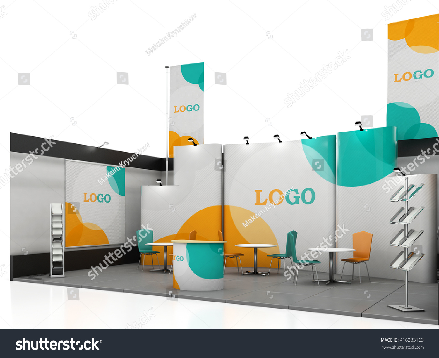 Expo Stands Shape Of You : Blank creative exhibition stand design color stock