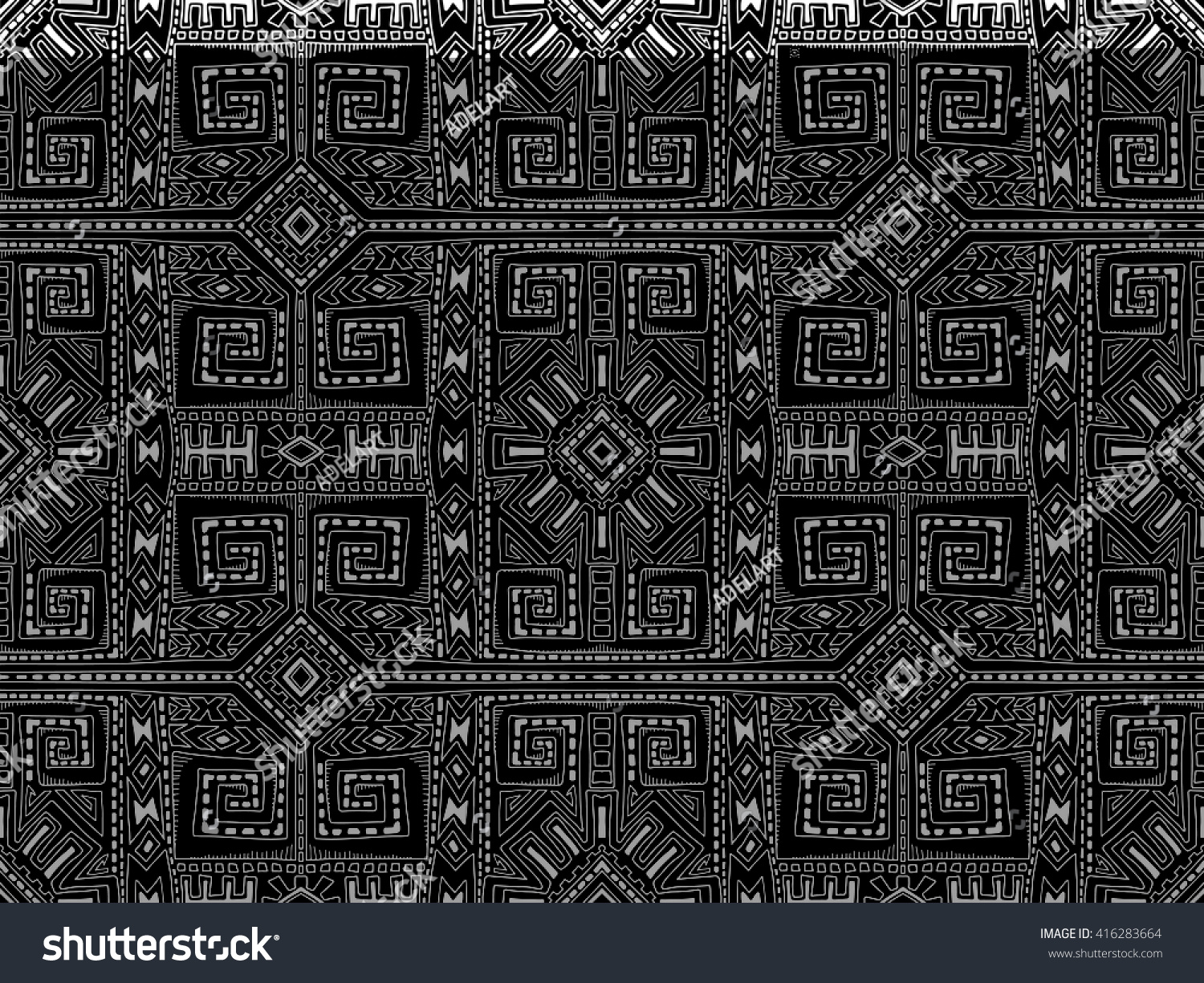Background geometric mexican patterns seamless vector zigzag maya - Aztec Background Abstract Tribal Ornament Black And White Pattern Doodle Maya Style Ornament