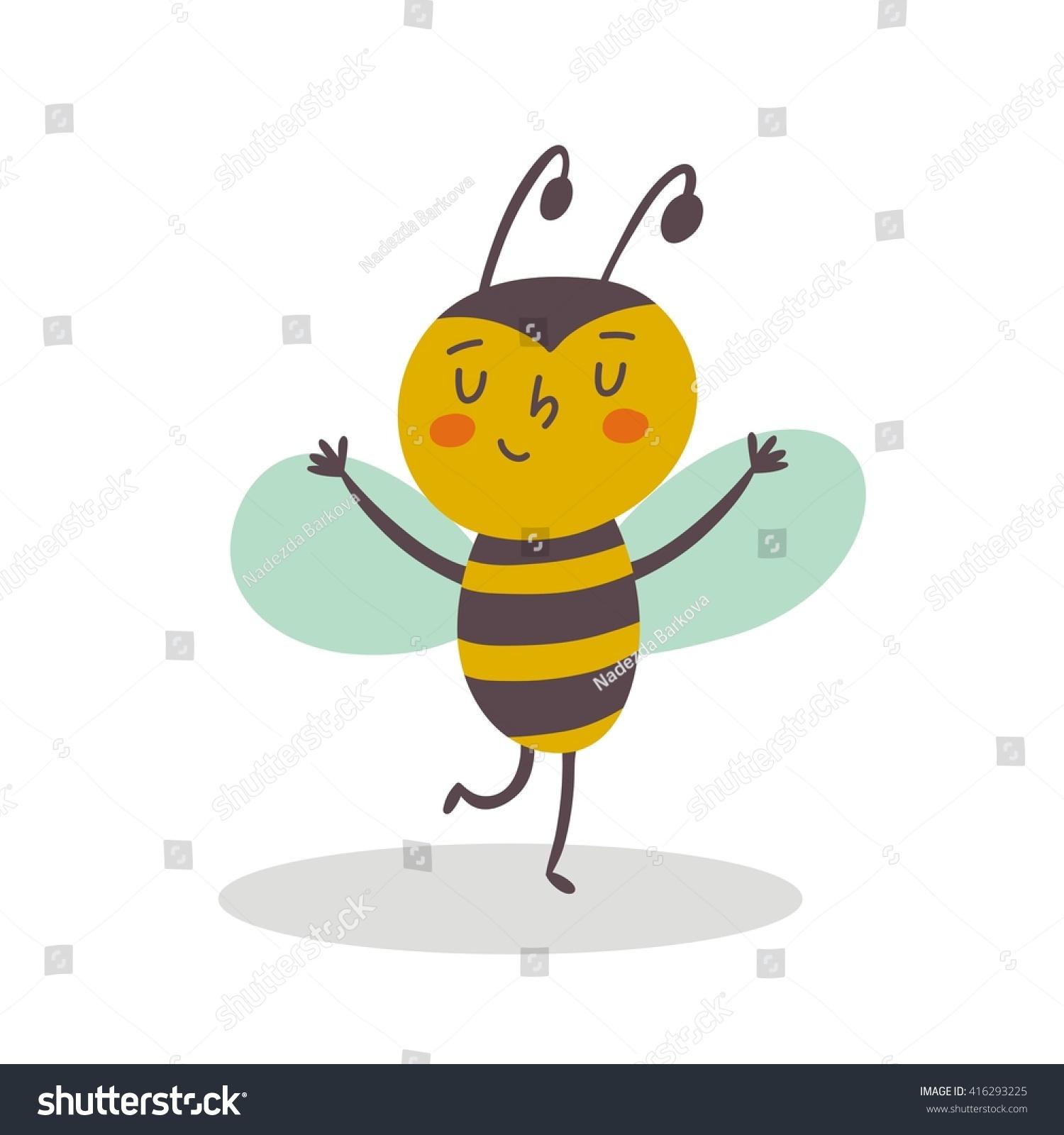 funny cartoon bee print stock vector 416293225 shutterstock