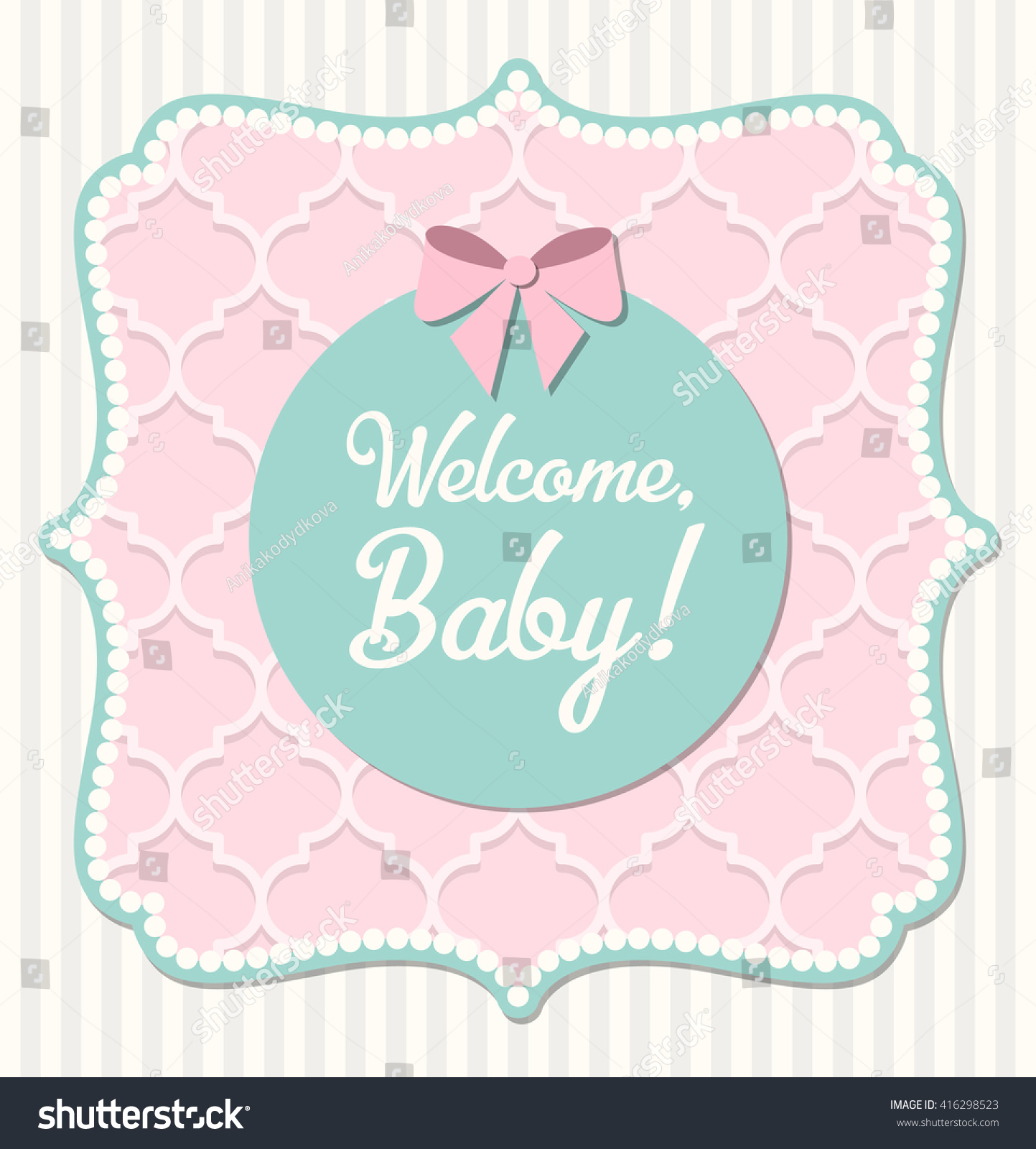 Baby Shower Shabby Chic Style Pink Stock Vector