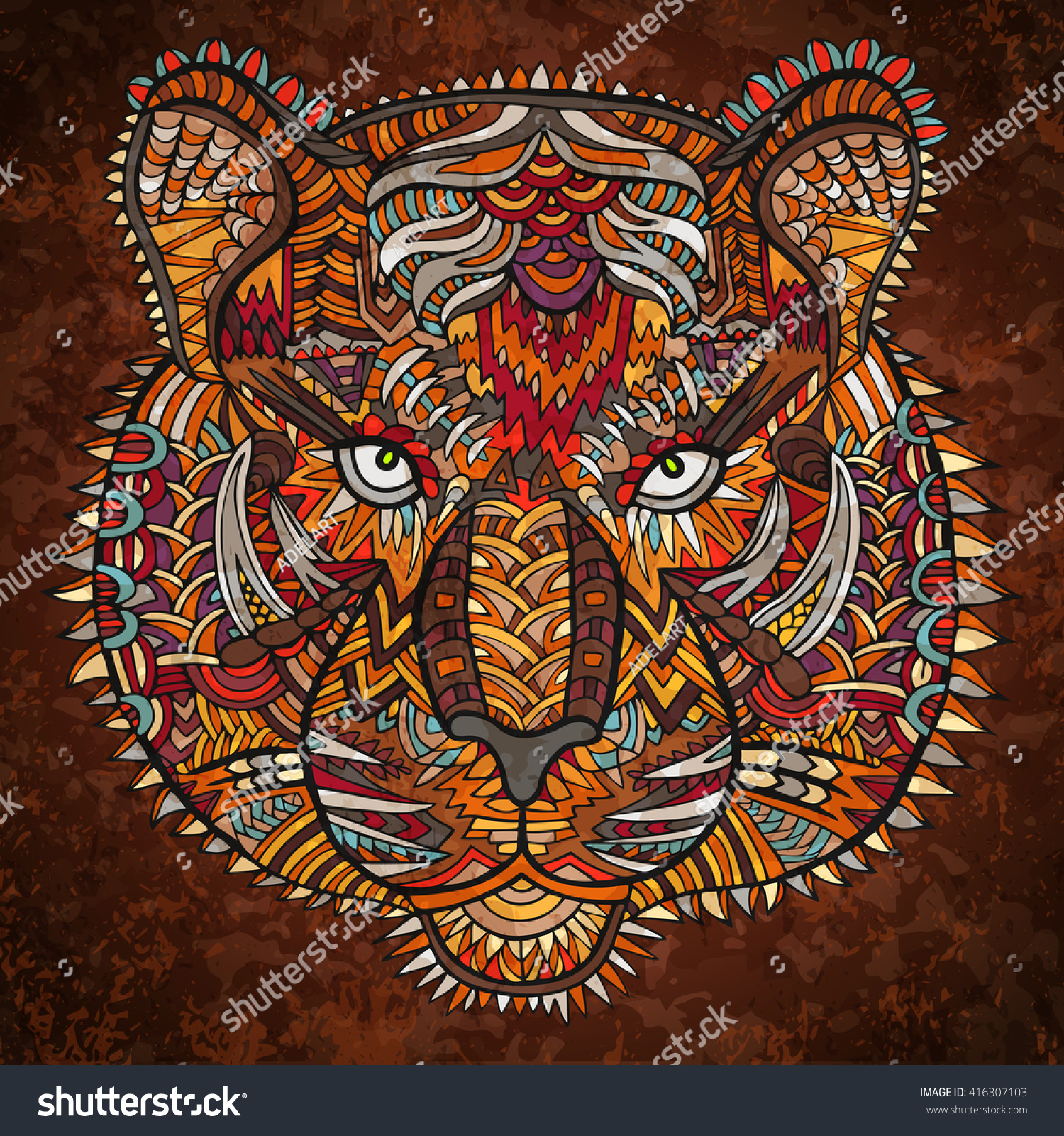 Tiger Head Zentangle Artwork Animal Illustration Zoo And Safari Theme