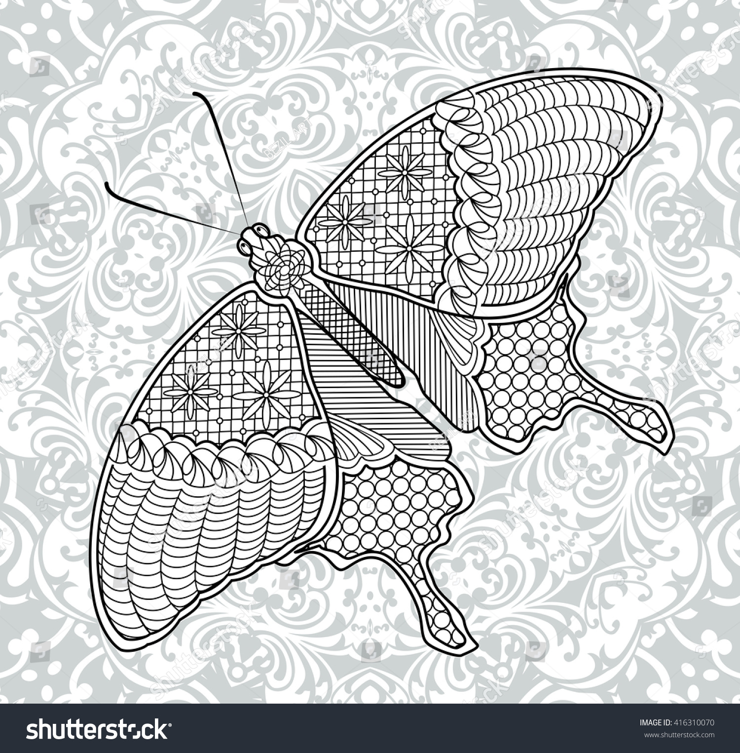 Coloring Pages Butterfly On The Background Of Mandala For Adults And Children Illustration In