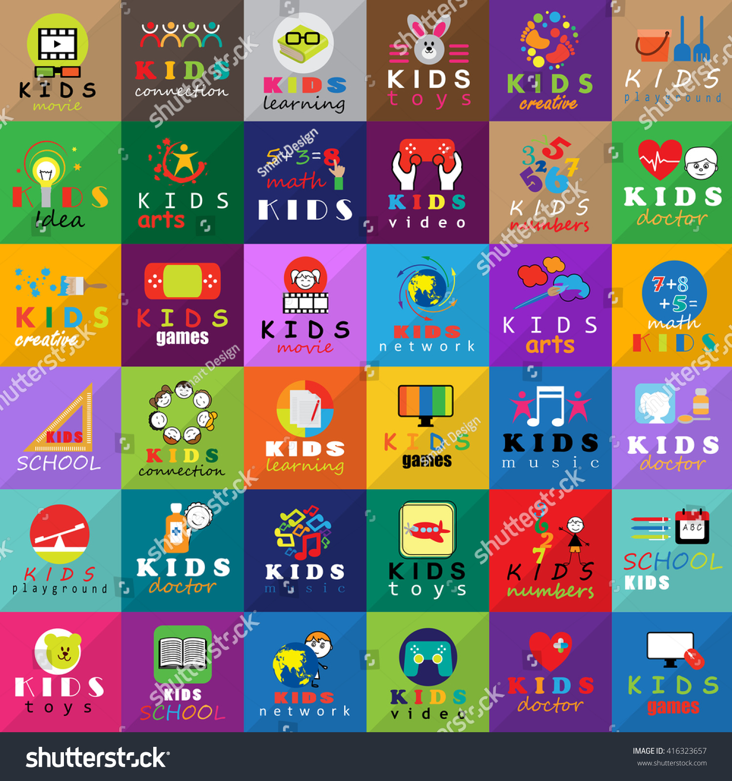 Children Icons Set Isolated On Mosaic Stock Vector Royalty Free 416323657