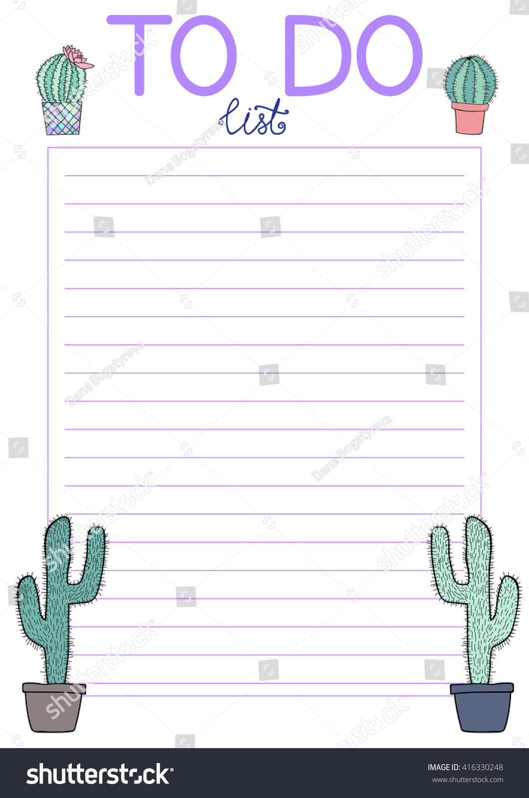 Cute Do List Hand Drawn Elements Stock Vector Royalty Free