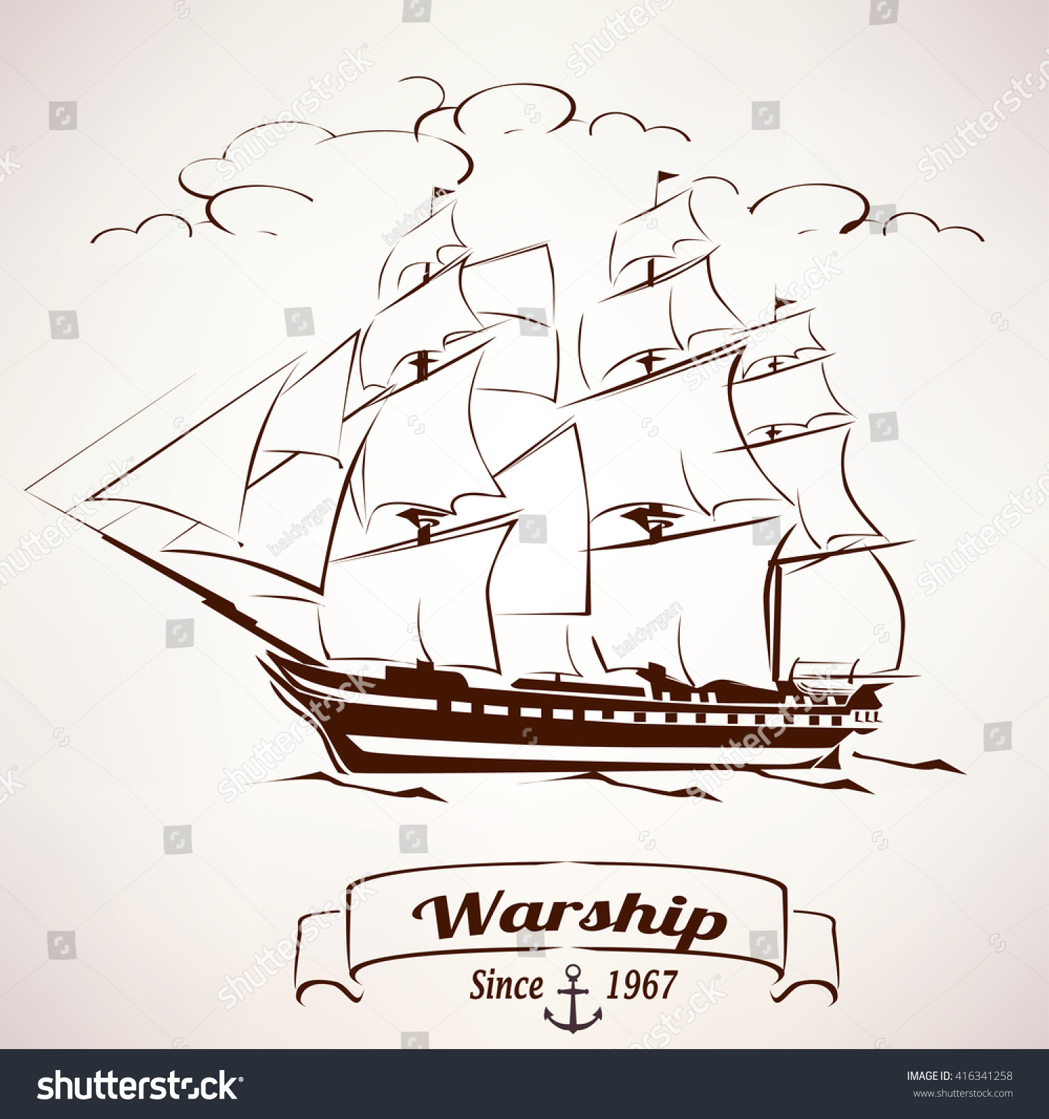 sailor vintage wooden ship vector sketch stock vector 416341258