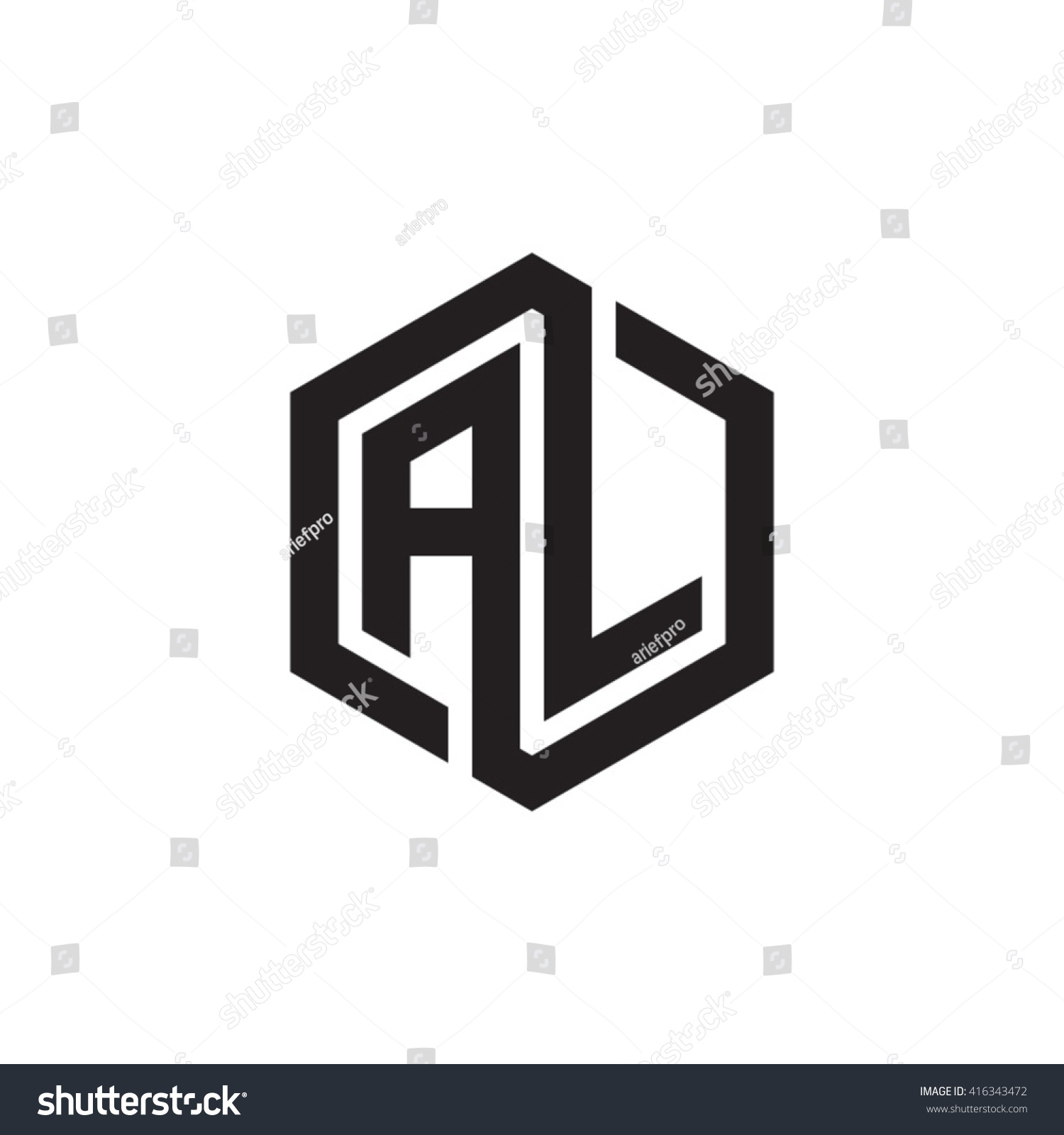 Al Initial Letters Loop Linked Hexagon Stock Vector Royalty Free 416343472