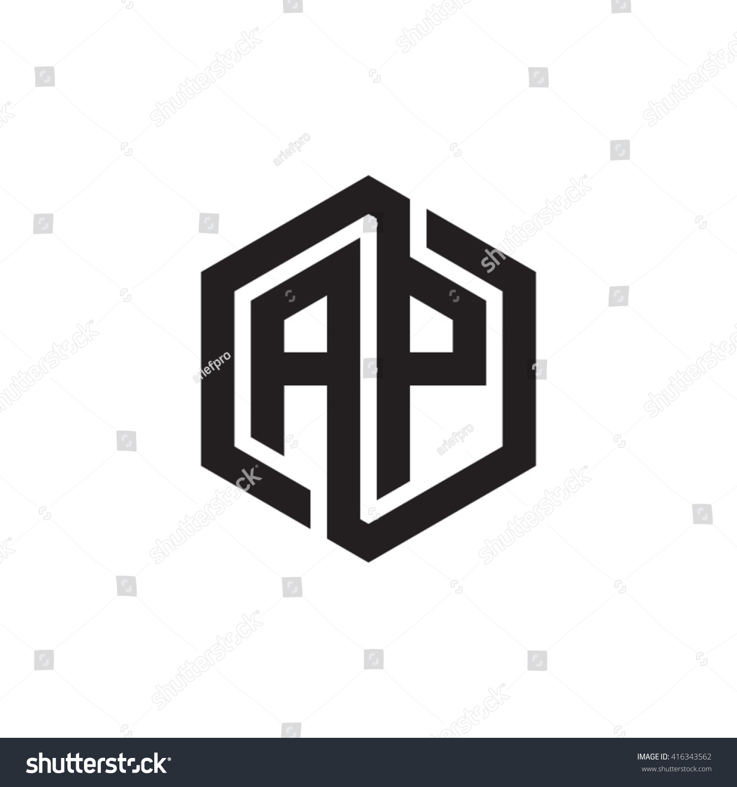 ap initial letters loop linked hexagon stock vector royalty free