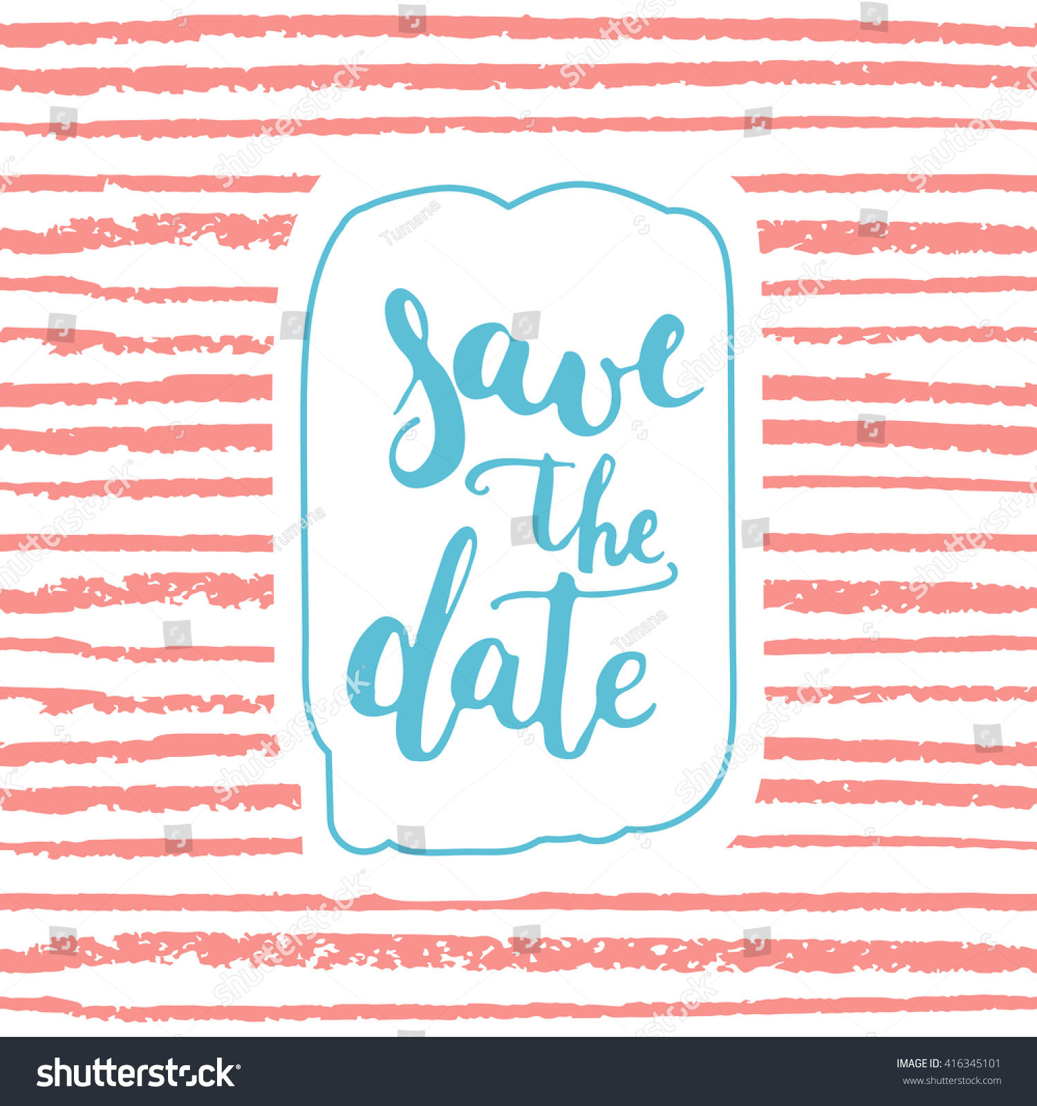 Save Date Card Template On Striped Stock Illustration 416345101 ...