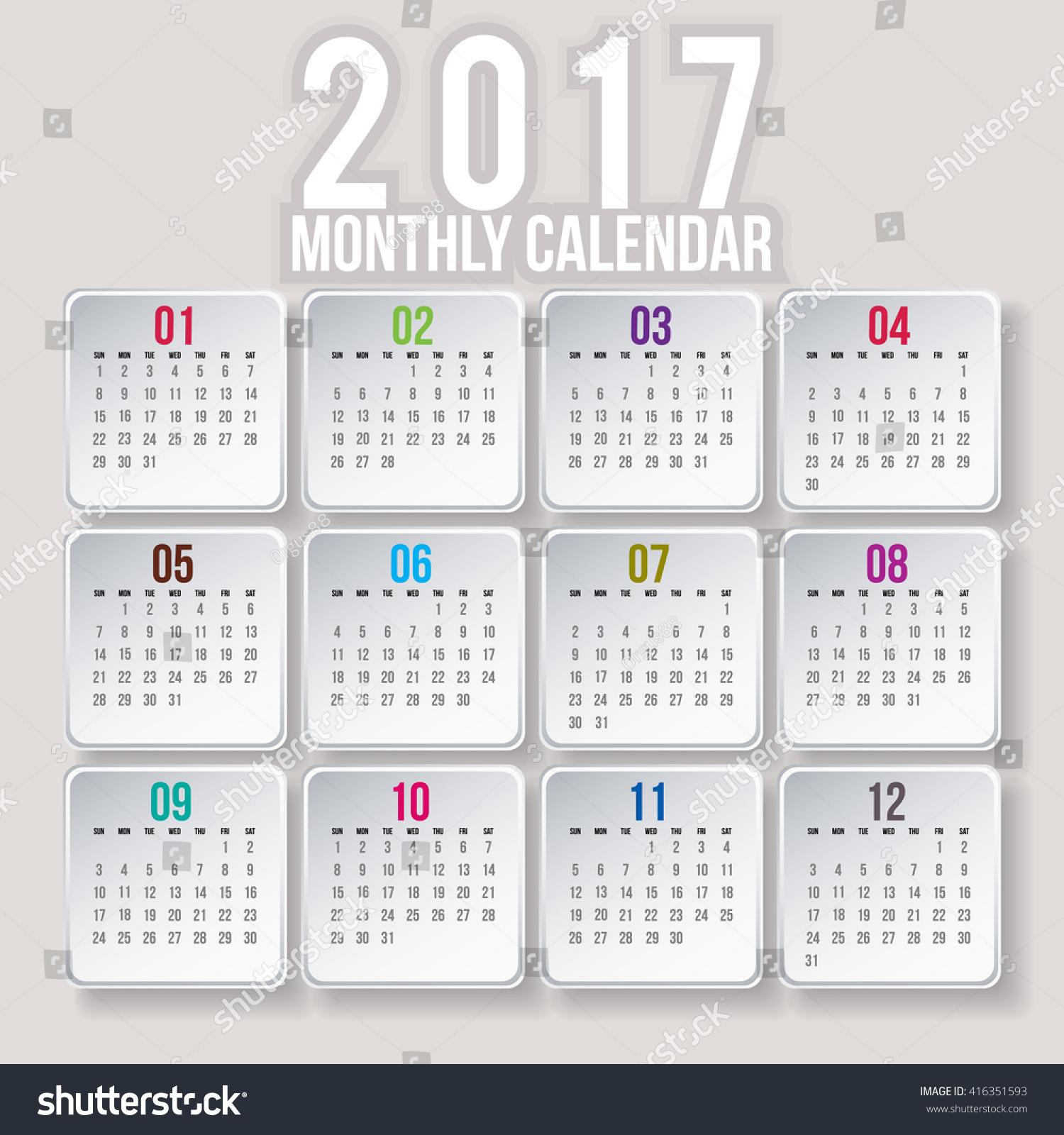 Vertical Calendar Design : Simple year vector calendar design