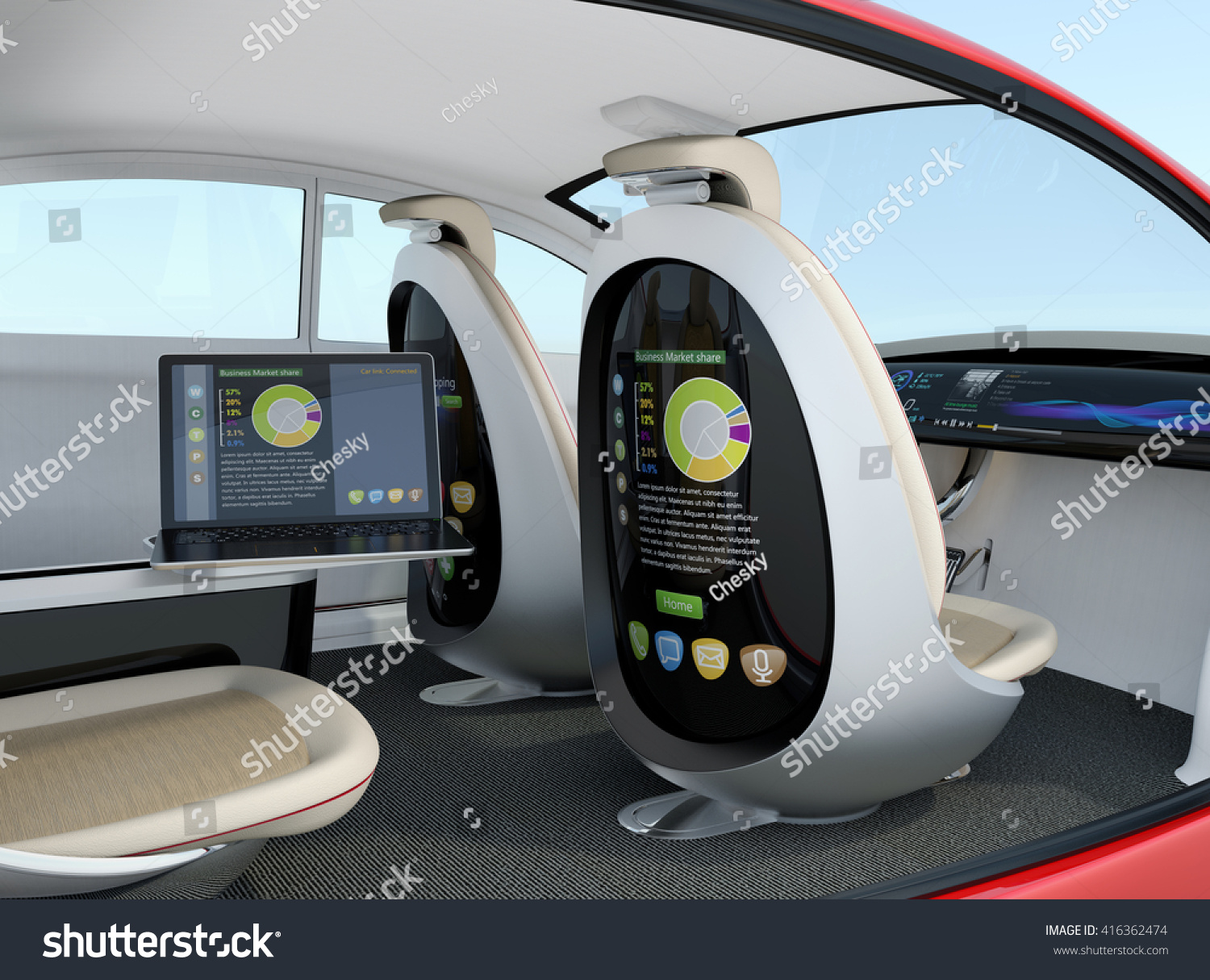 Autonomous Car Interior Concept Rear Screen Stock