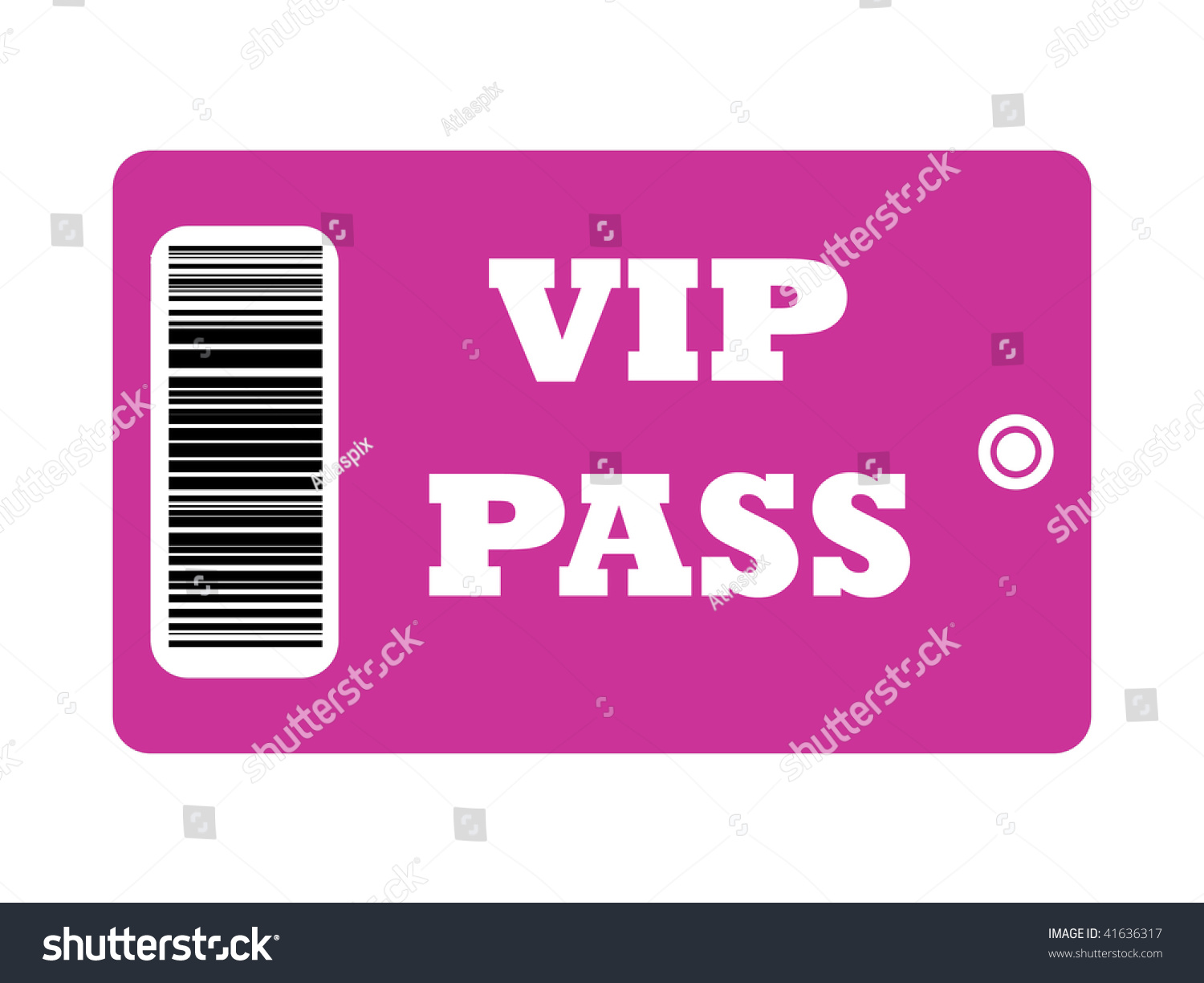Vip Pass With Bar Code Isolated On White Background Stock