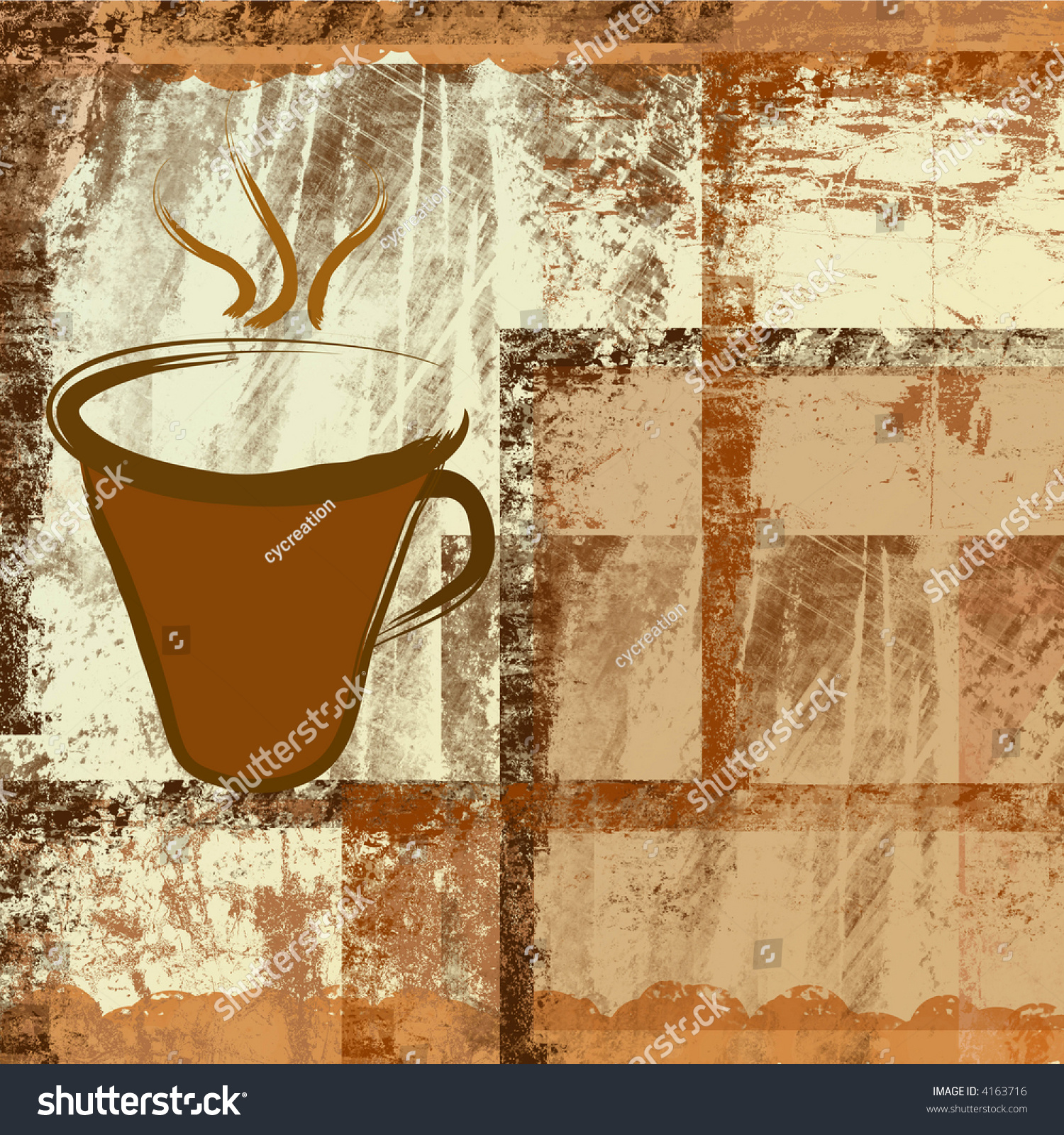 Coffee cup frames - Coffee Cup On Brown Grunge Frames Background Preview Save To A Lightbox