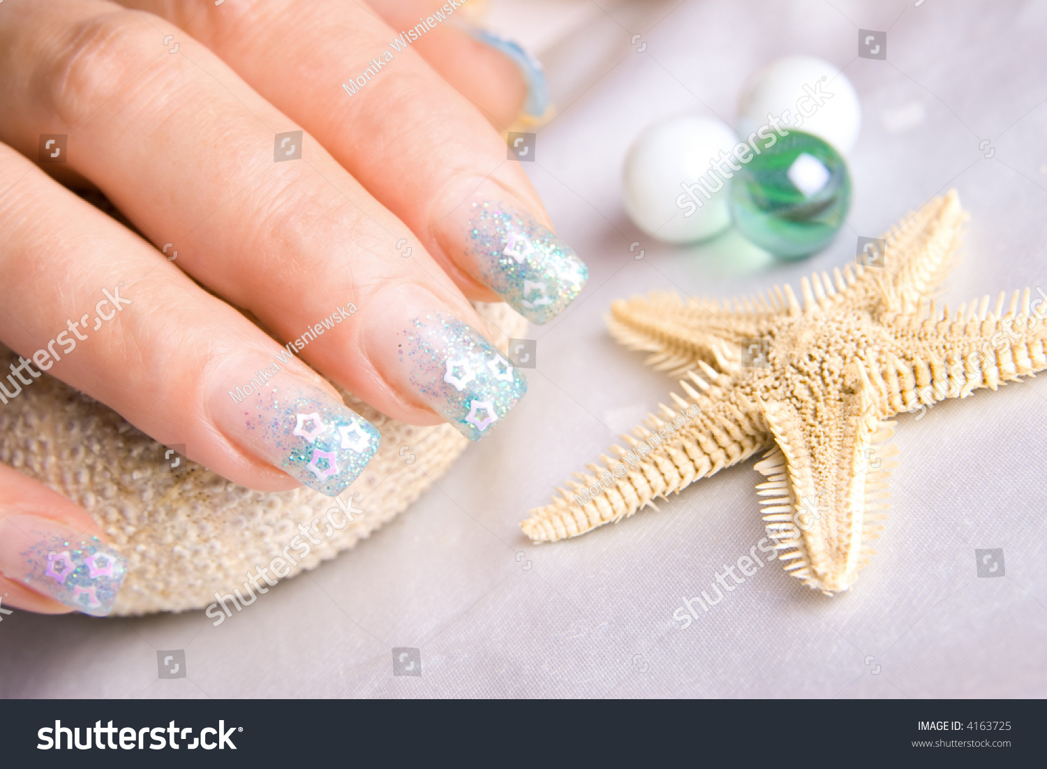 Nails Decorated With Nice Blue Enamel. Stock Photo 4163725 ...