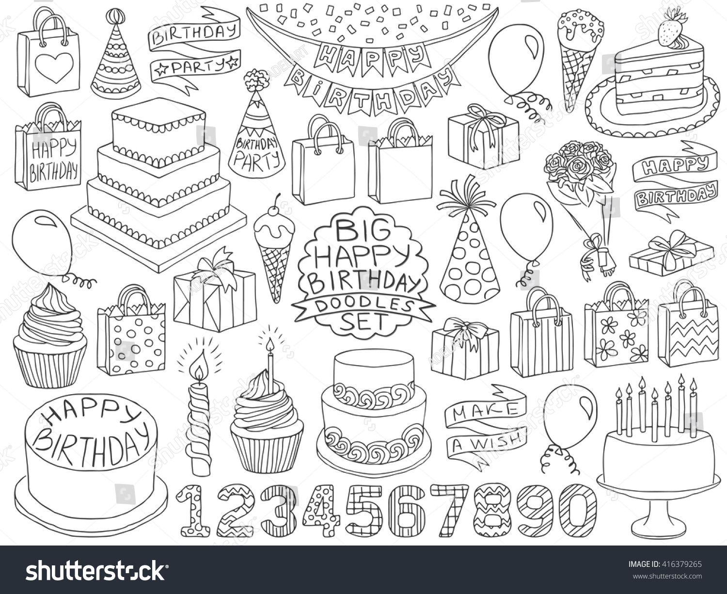 Happy birthday doodles set birthday pencil effect sketches birthday cake present boxes and