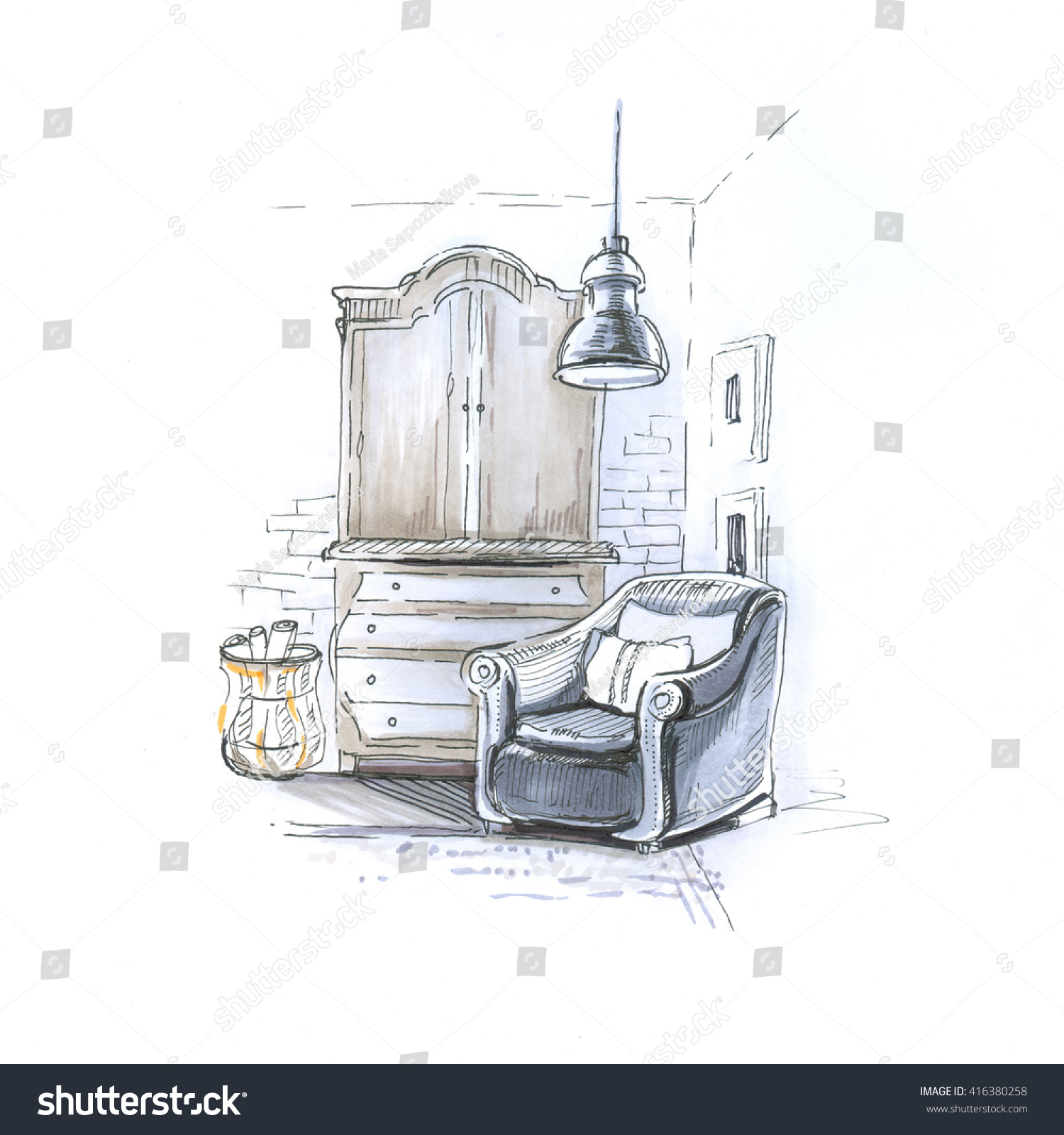 Modern interior of room with armchair and wardrobe on brick wall background sketch trendy contemporary