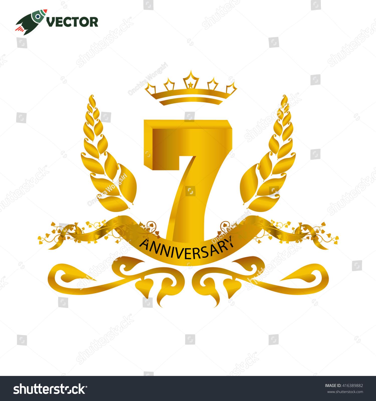 7th years anniversary celebration wedding birthday stock vector 7th years anniversary celebration wedding and birthday sign and label with leaves rbbon buycottarizona