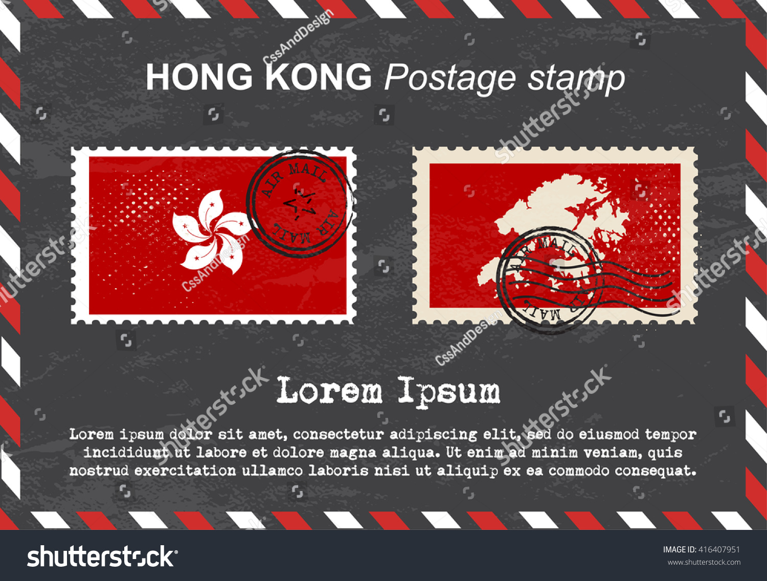 Hong Kong Postage Stamp Postage Stamp Stock Vector (Royalty Free ...