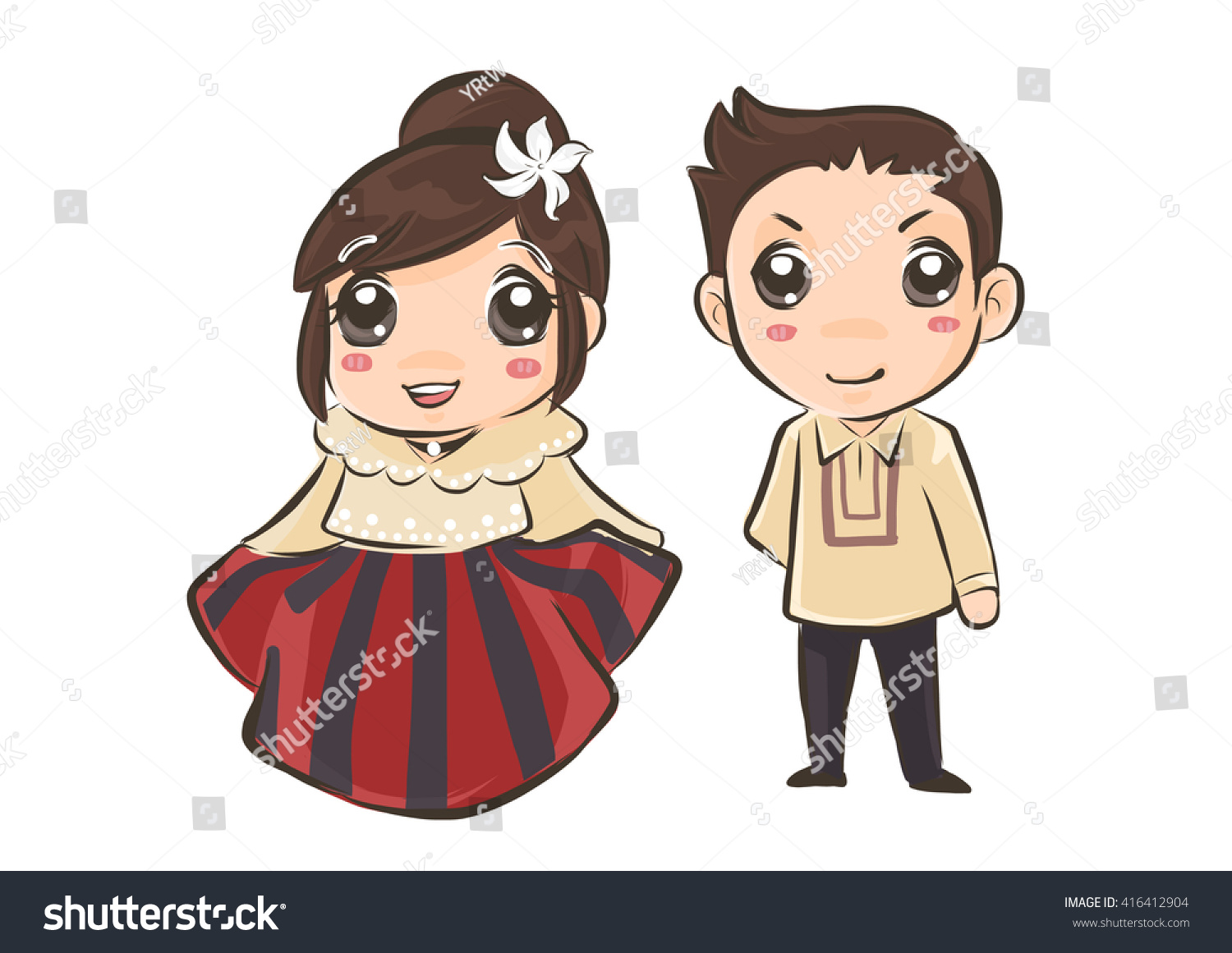 Couple Philippines Traditional Costume Stock Vector
