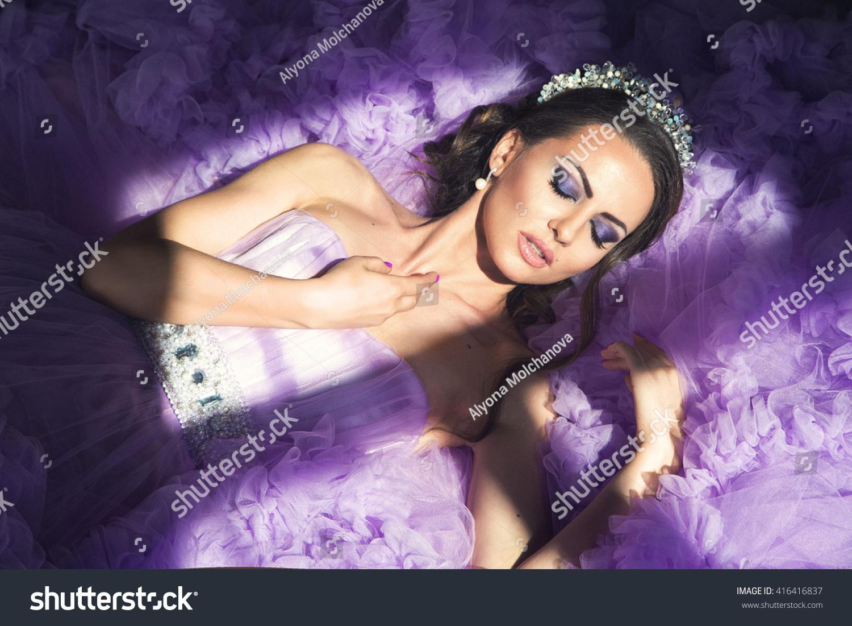 cd8095c15077 Princess Sleeping Beauty Young Girl Purple Dress Stock Photo (Edit ...