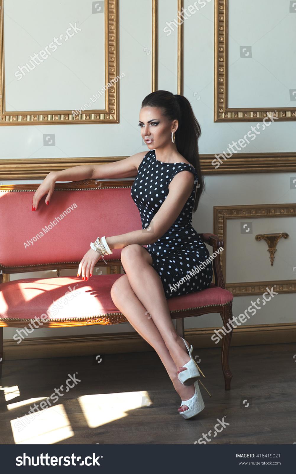Beautiful Elegant Lady Black Dress Peas Stock Photo