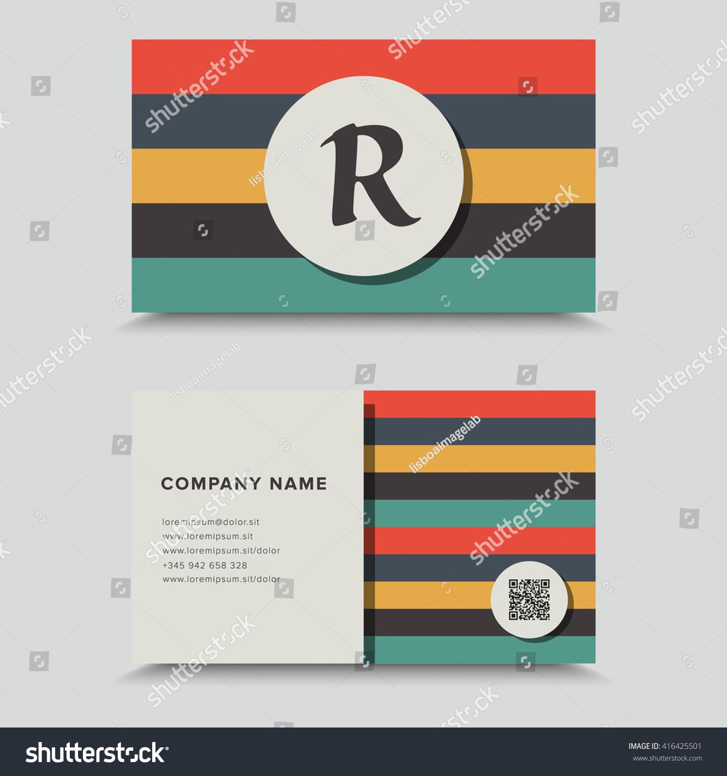 Visit Card Qr Code Business Card Stock Vector 416425501 - Shutterstock