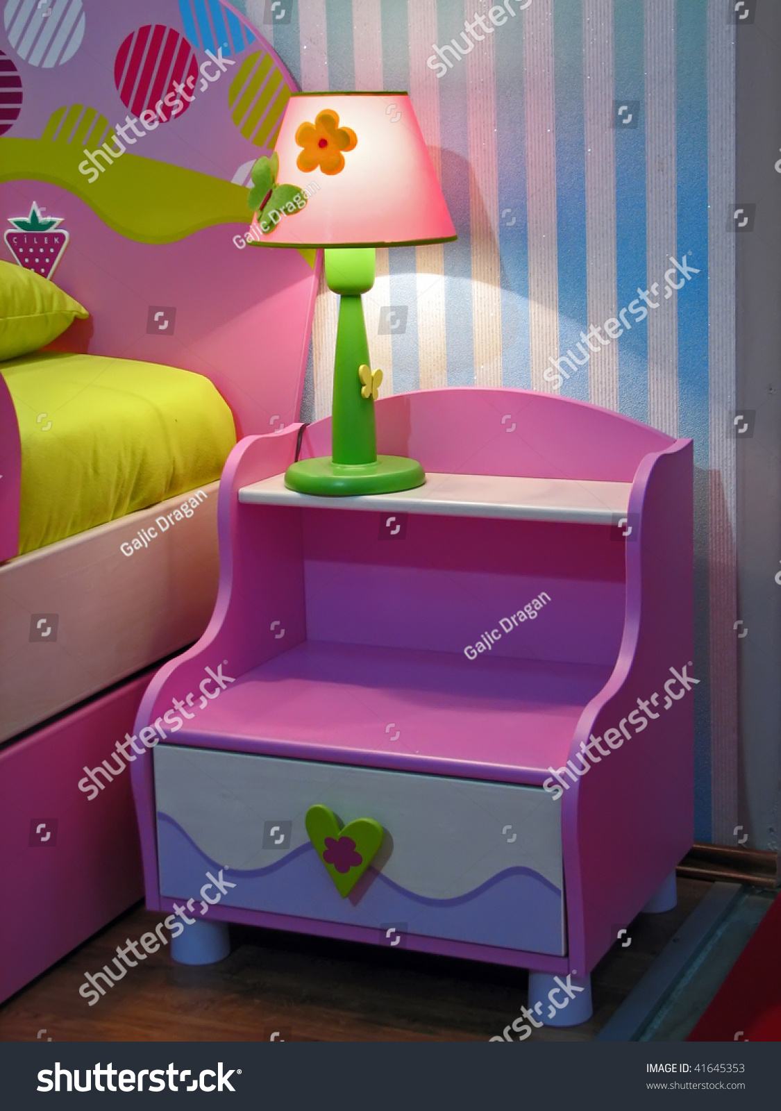 Pink Bedside Table: Kids Room Night Table. Colorful Night Table. Pink Bedside