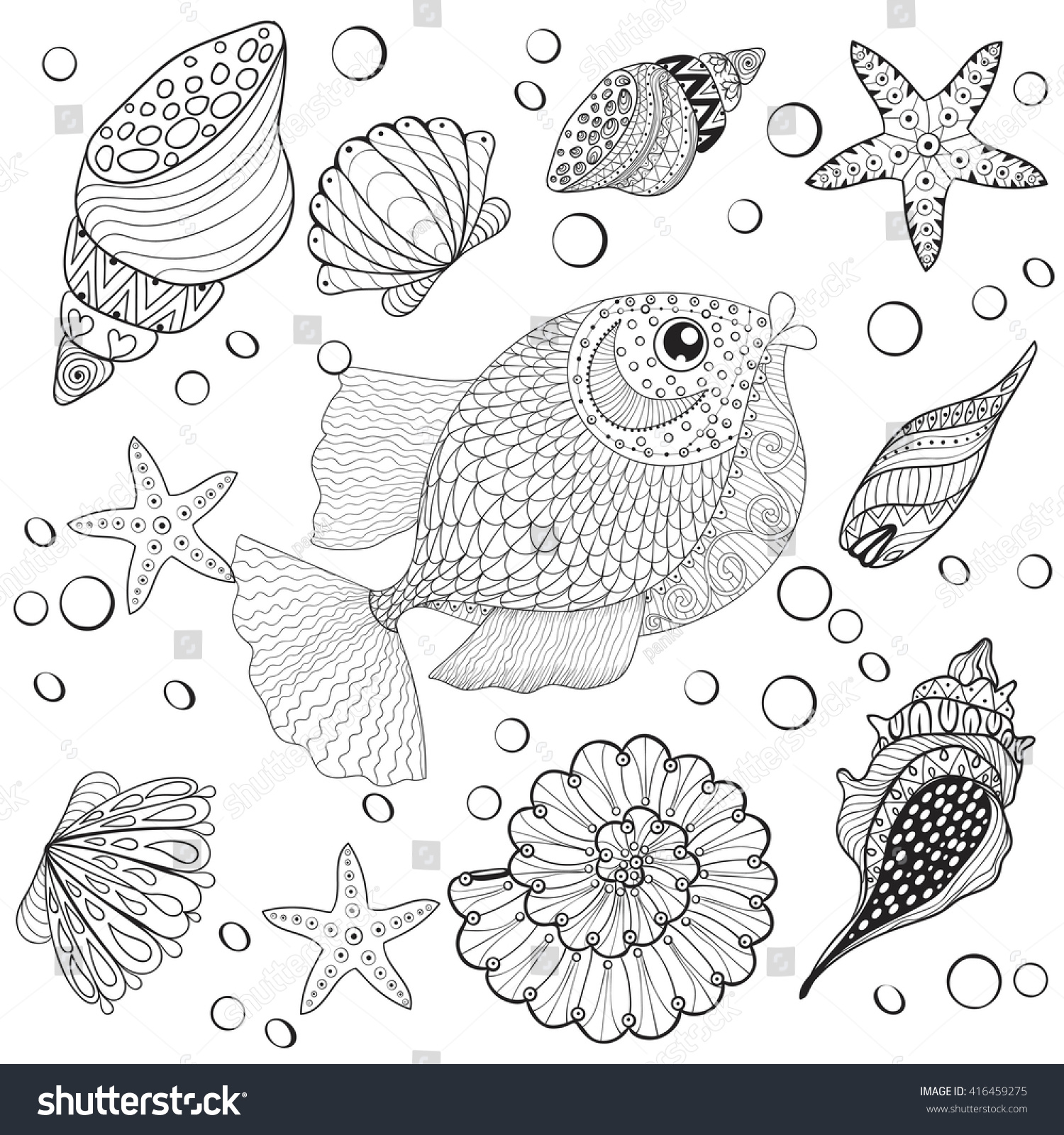 Hand Drawn Zentangle Fish Sea Shells For Adult Anti Stress Coloring Pages Post Card