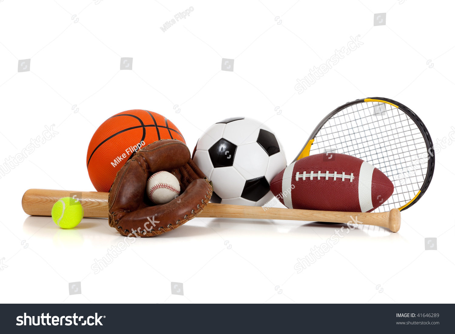 Color Sport Background Football Basketball Hockey Stock: Assorted Sports Equipment Including A Basketball, Soccer