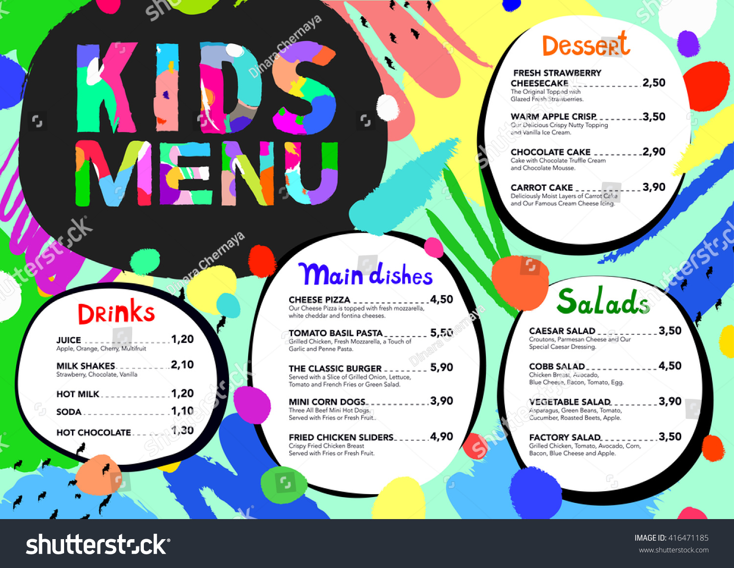 Cute colorful meal kids menu template stock vector 416471185 cute colorful meal kids menu template with brush strokes and colorful splashes pronofoot35fo Images