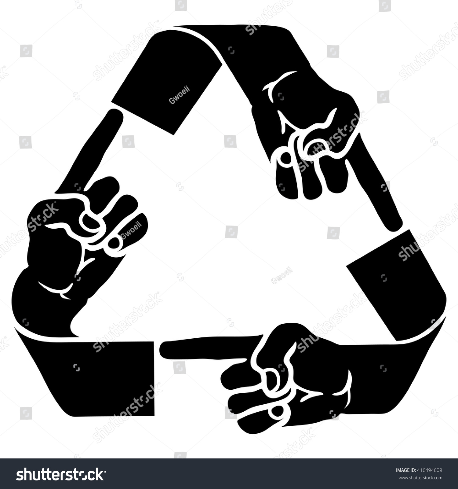 Vector Illustration Recycle Symbol Human Fingers Stock Vector