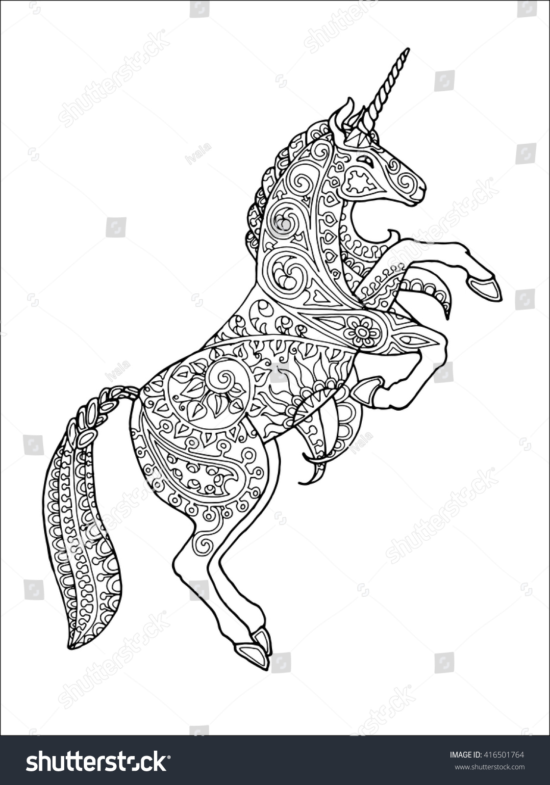 Decorated Rearing Unicorn Floral Pattern Zentangle Stock ...