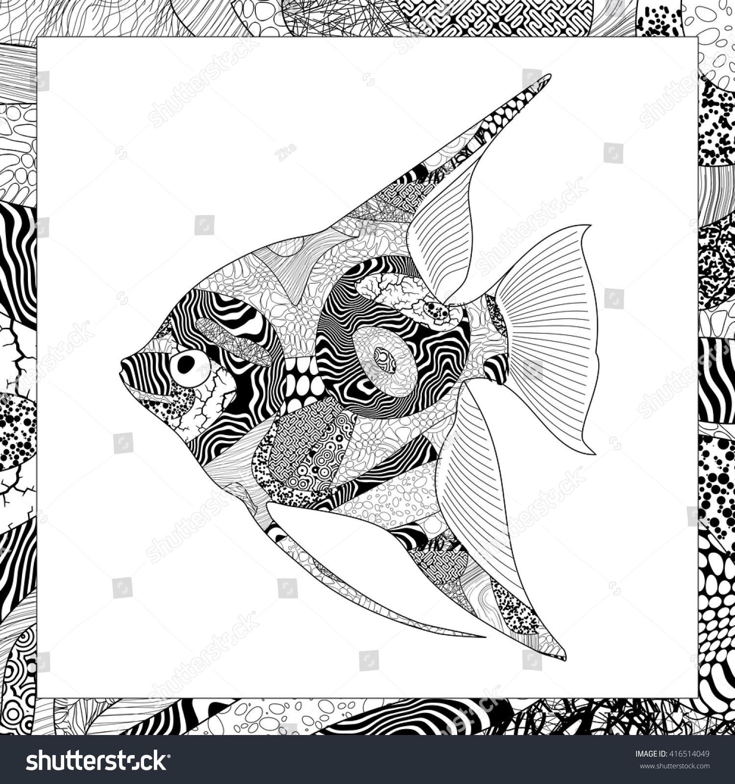 vector black white angelfish illustration stock vector 416514049