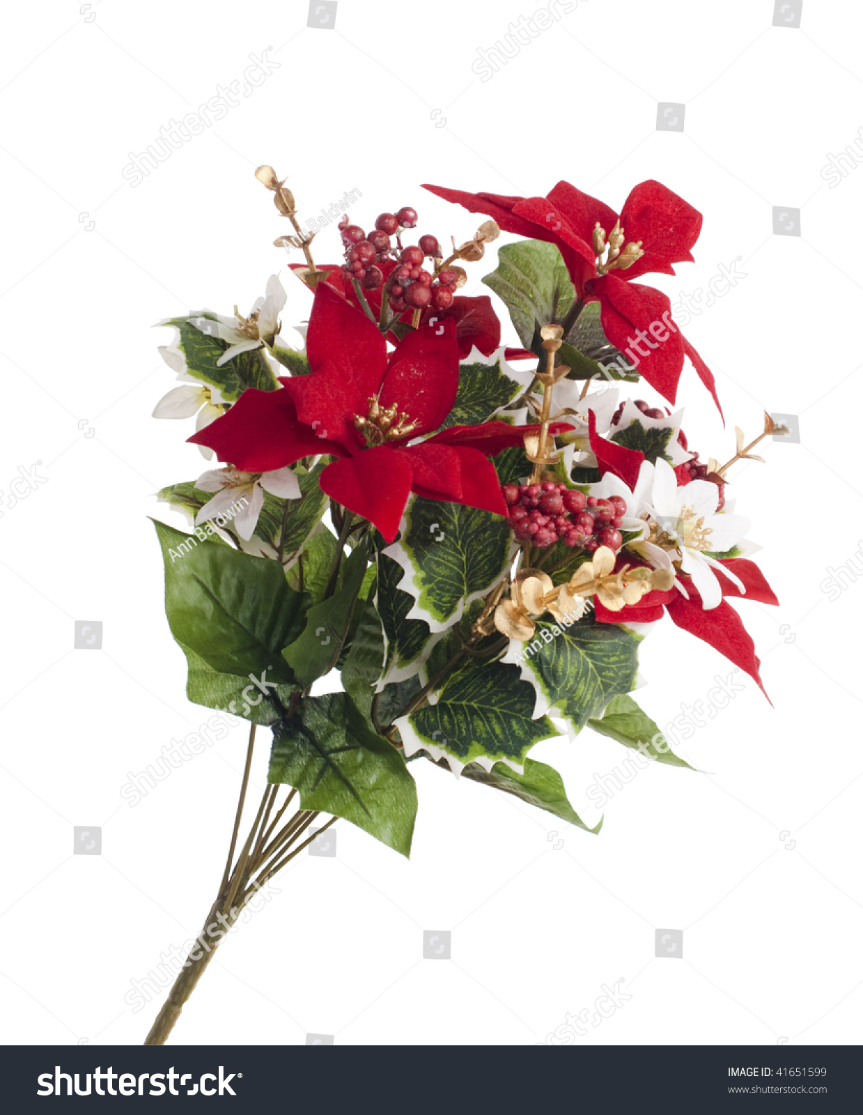 Bouquet Of Artificial Poinsettia And Berries For Christmas Decoration Isolated On White Stock