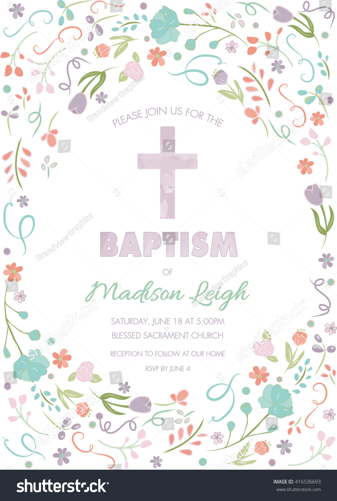 Baptism Christening First Communion Invite Template Stock Vector ...