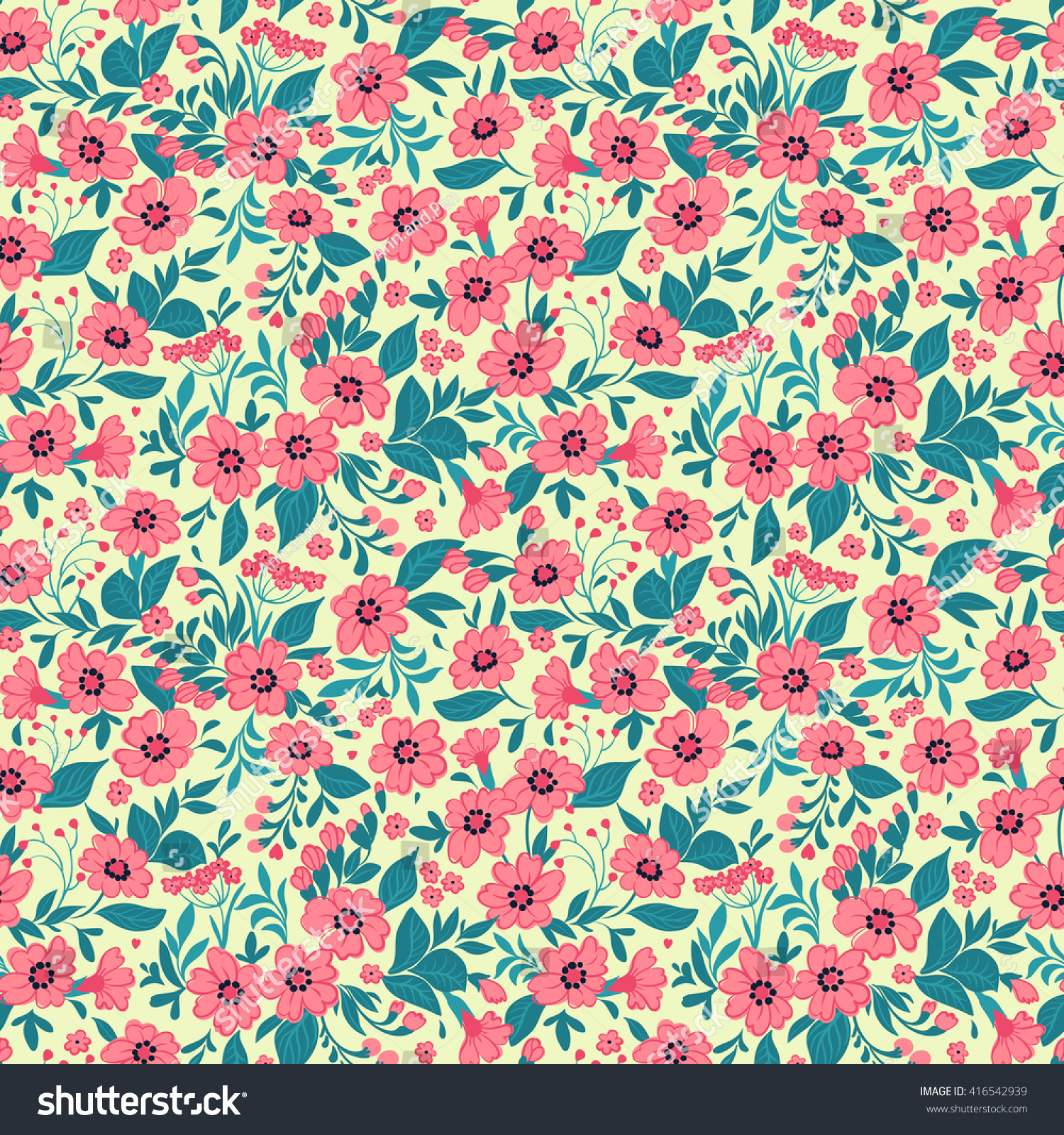 Cute Pattern In Small Pink Flowers Yellow Background Spring Floral