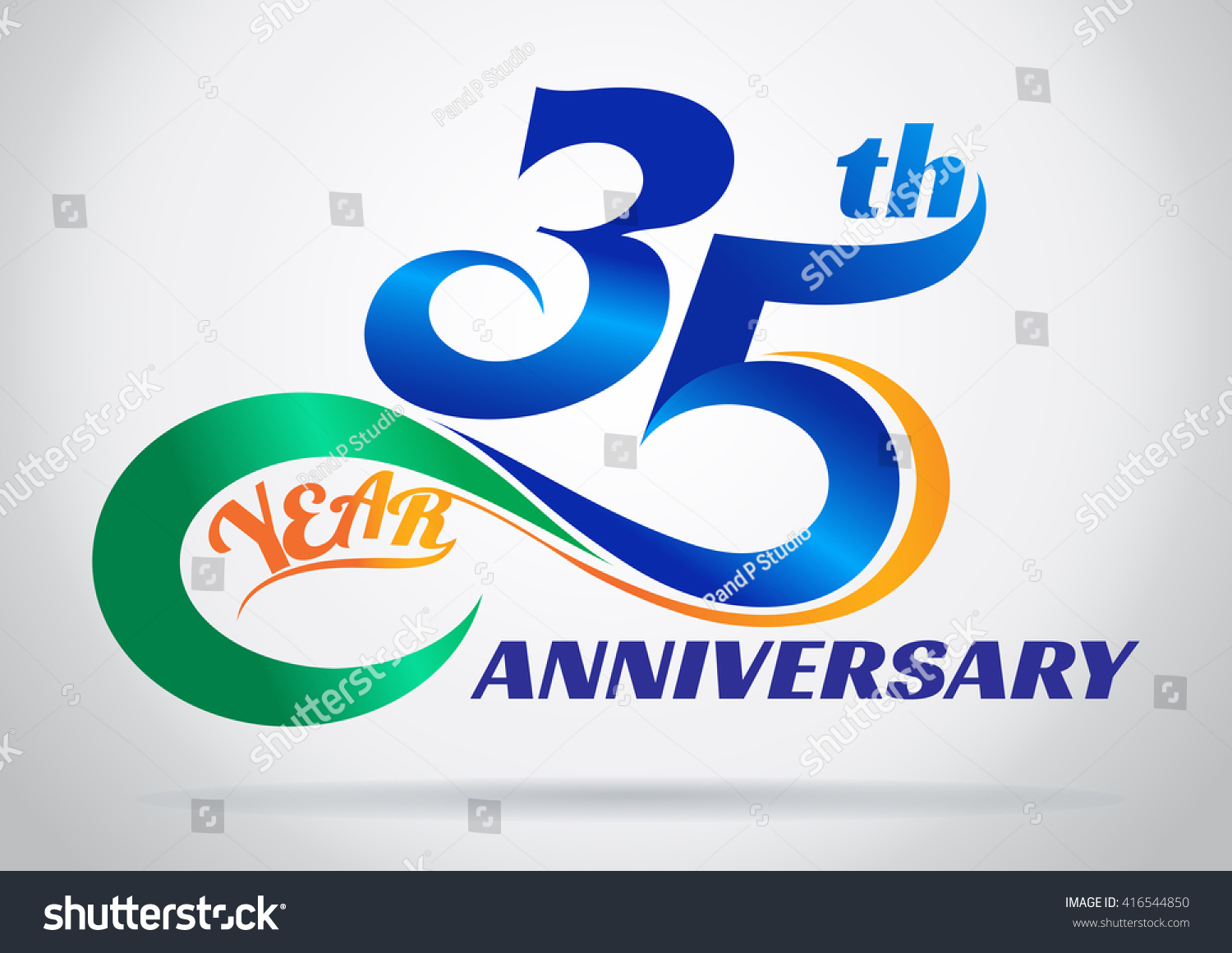 35th anniversary with an infinity symbol creative design stock vector illustration 416544850 - Th anniversary symbol ...