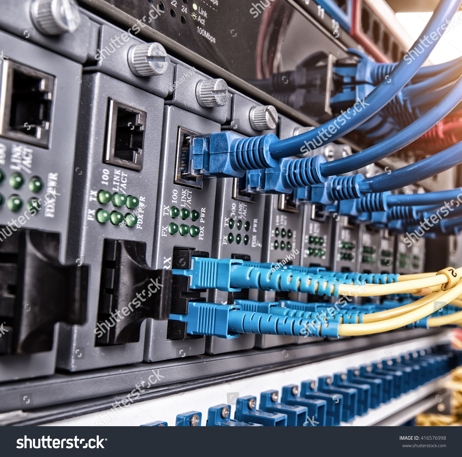 stock photo fiber optic switchboard with wires 416576998 fiber optic switchboard wires stock photo 416576998 shutterstock