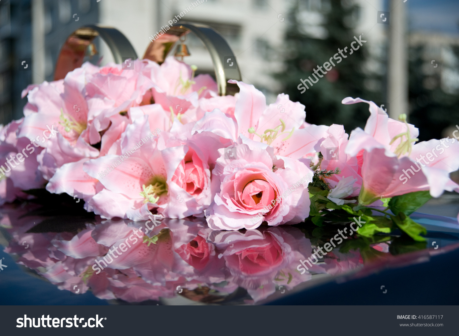 Wedding Car Decoration Pink Flowers Stock Photo (Royalty Free ...