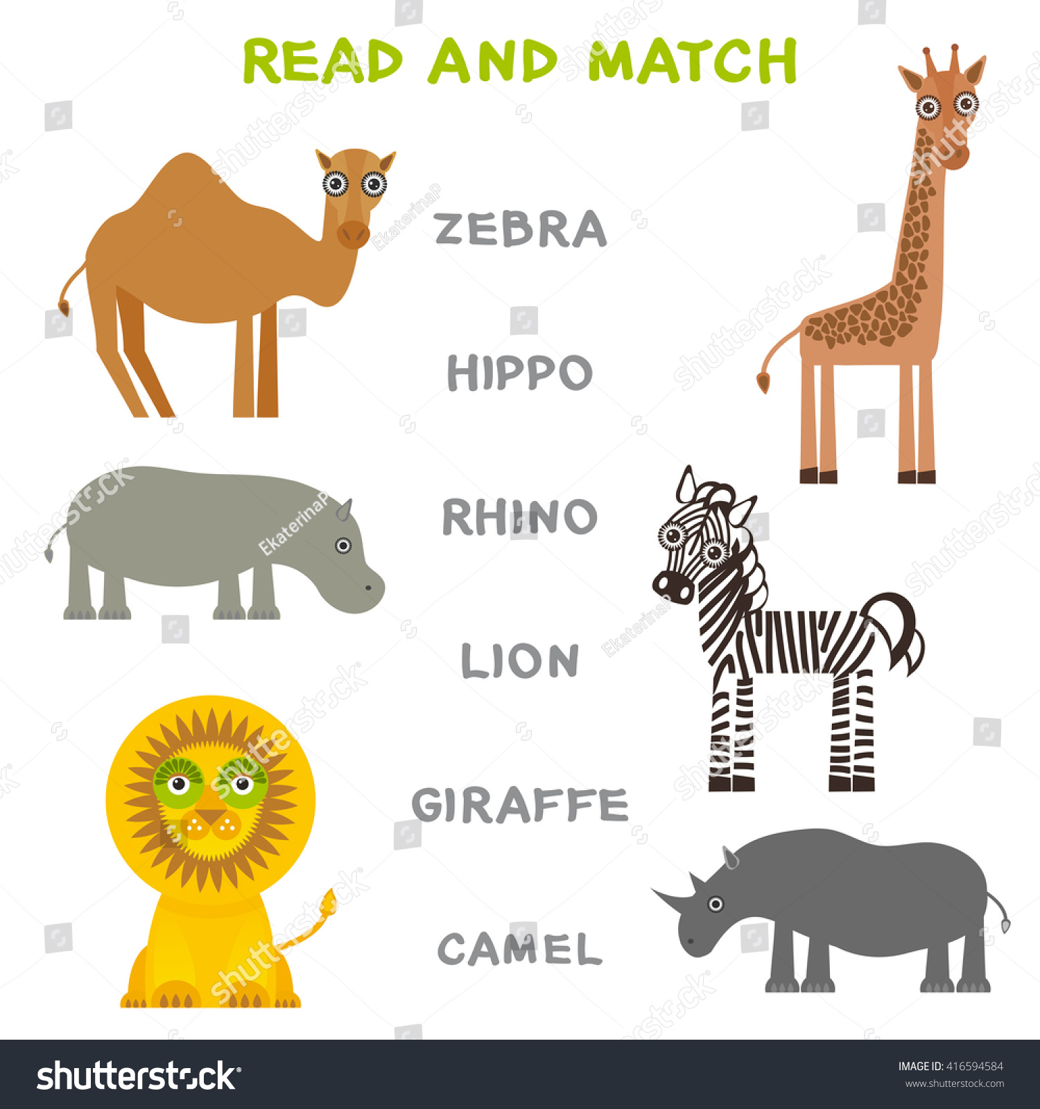 kids words learning game worksheet read stock vector 416594584
