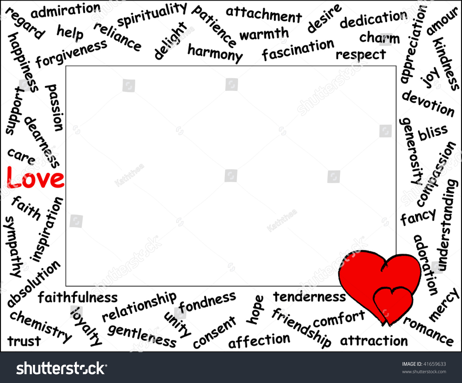 love word frame with 54 love related words and two hearts