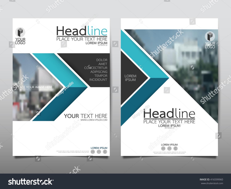 blue triangle annual report brochure flyer design template vector  leaflet cover presentation