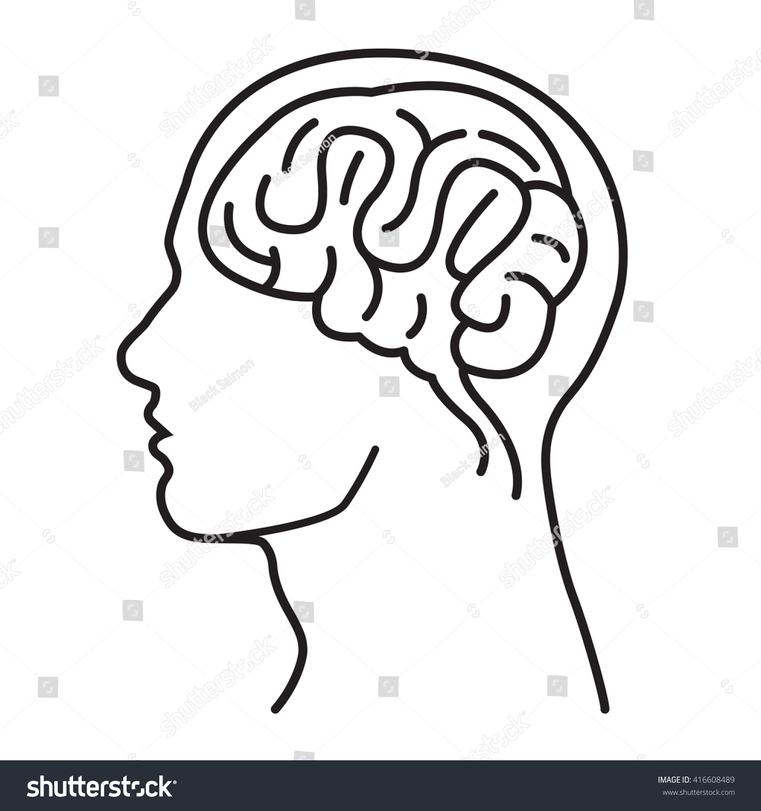 Line Drawing Brain : Happy healthy male brain head thin stock vector