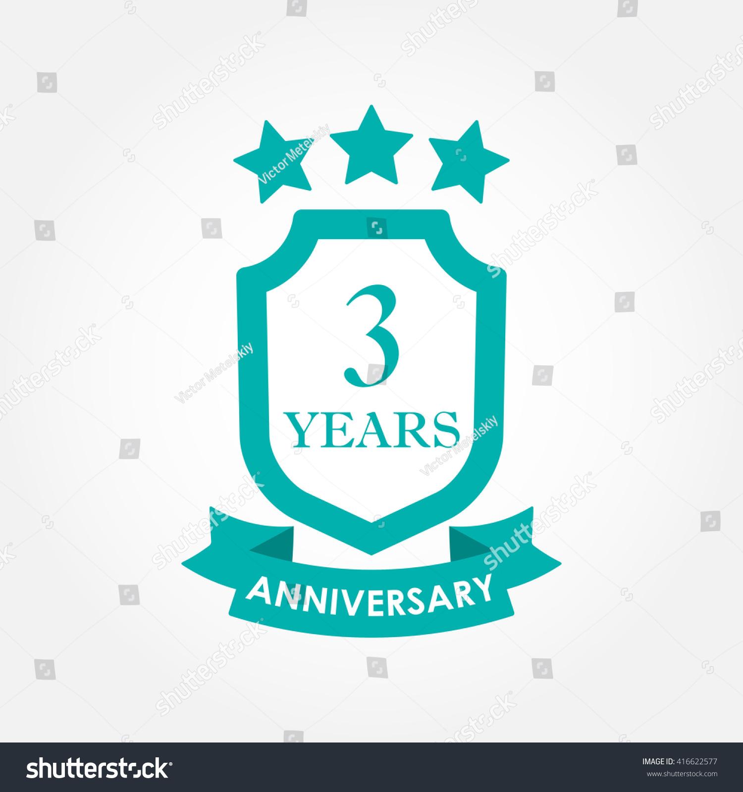 3 years anniversary icon or emblem 3rd anniversary label Celebration invitation and congratulation design element