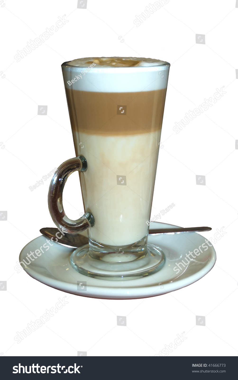 Caffe Latte Coffee Glass Isolated On Stock Photo Edit Now 41666773