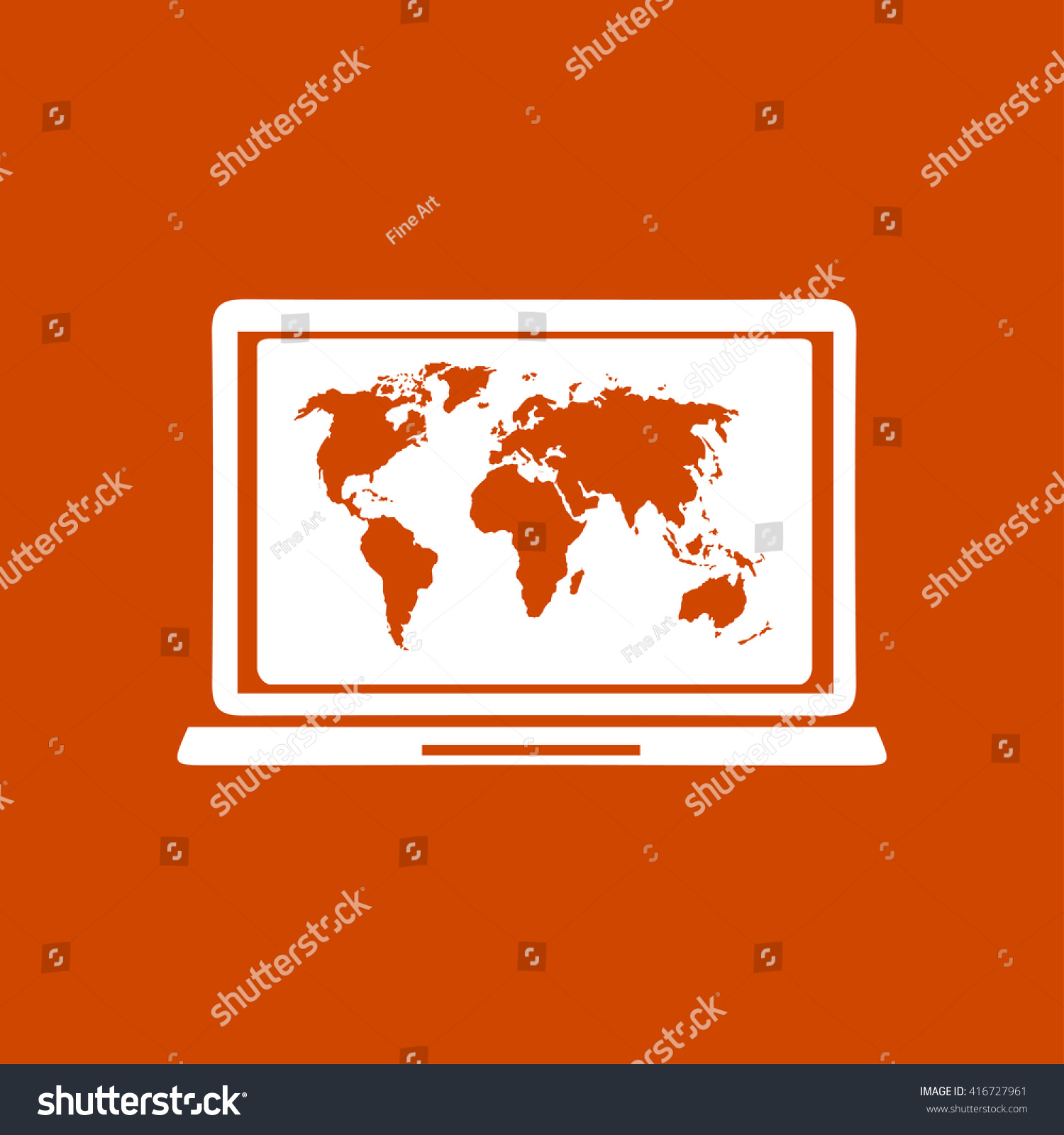 Laptop world map illustration world map stock vector 416727961 laptop and world map illustration world map geography symbol flat design style vector gumiabroncs Gallery