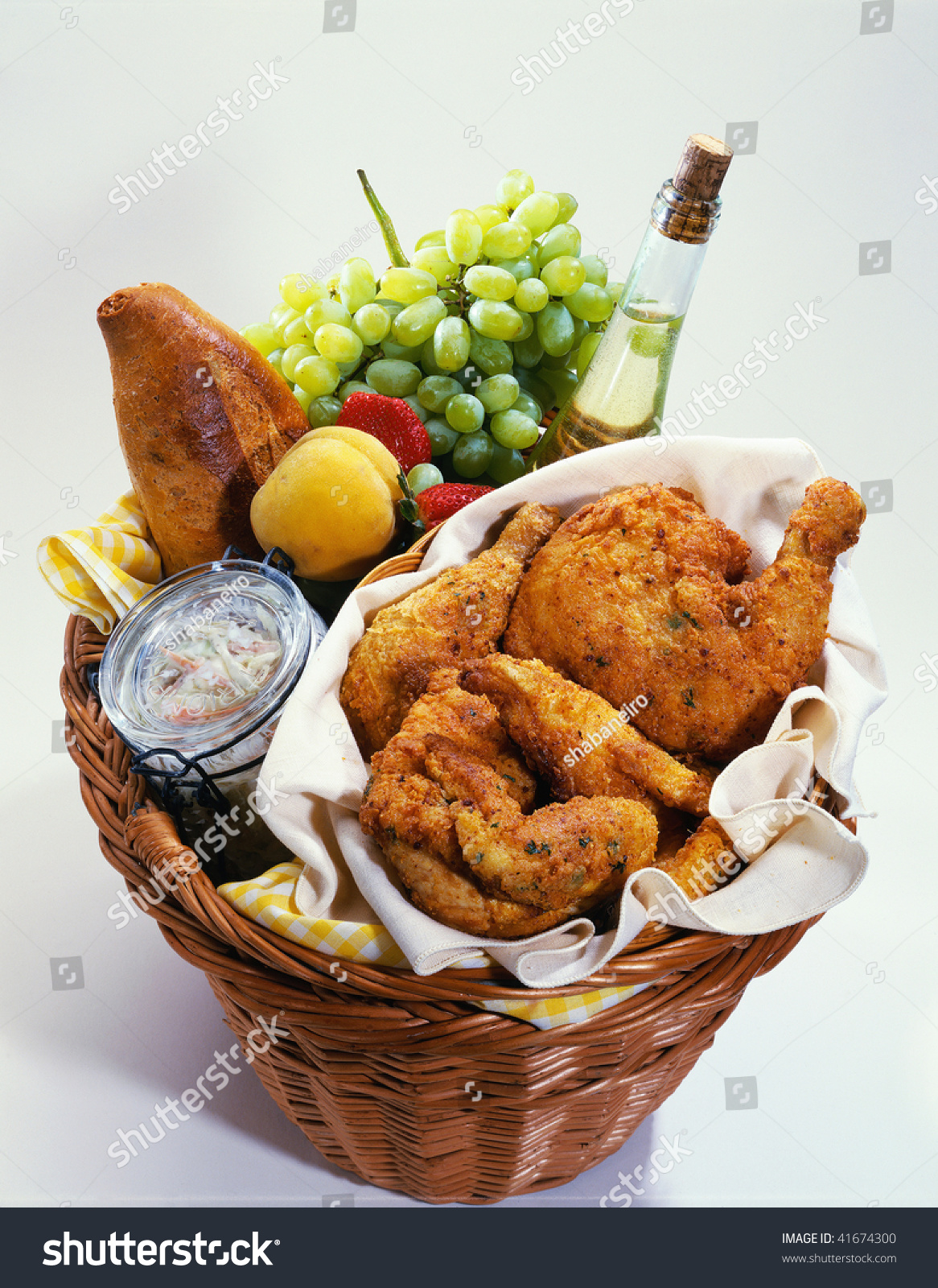 Picnic Basket Food : Picnic basket full fresh food stock photo