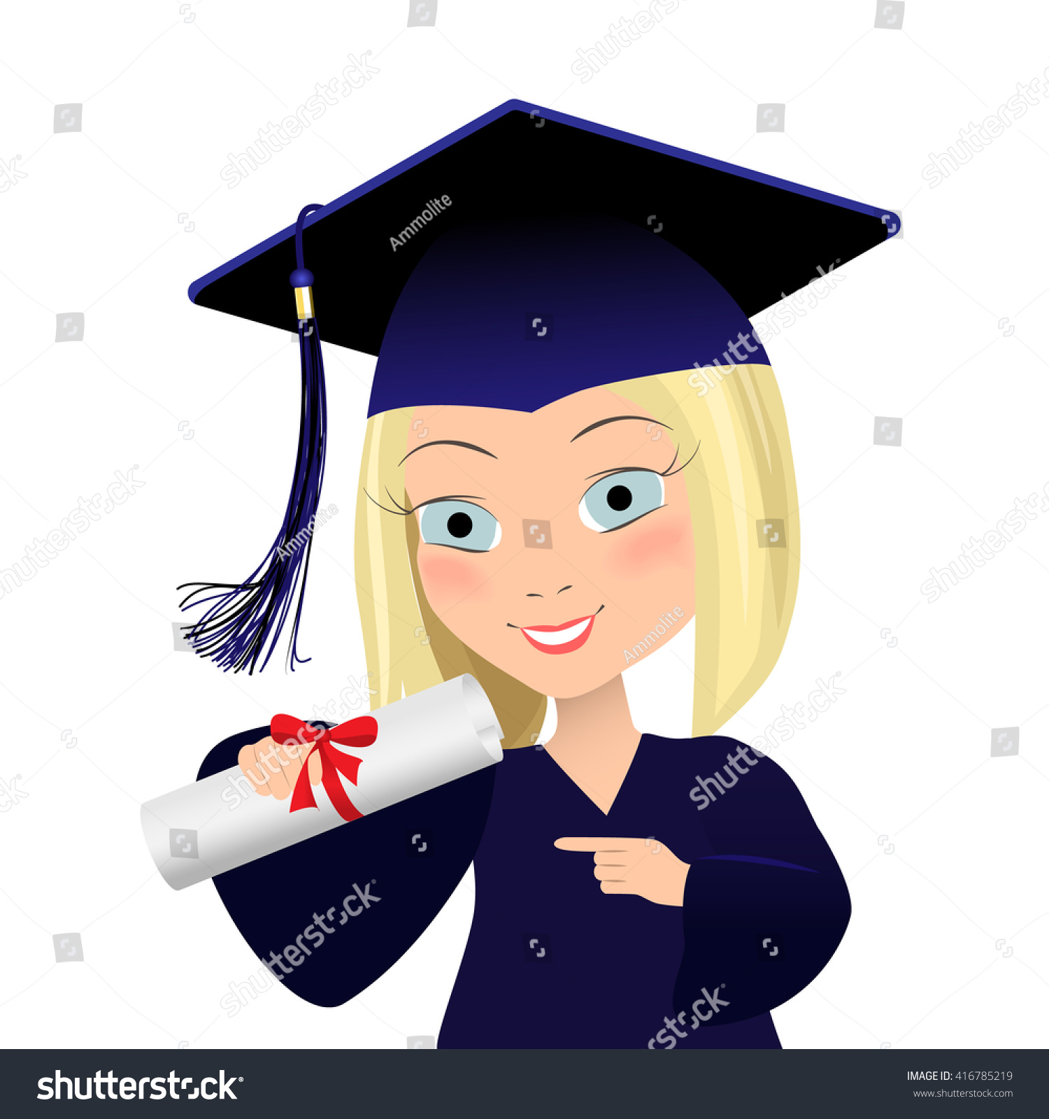 Vector Illustration Of Graduating Young Student. Cute Girl ...